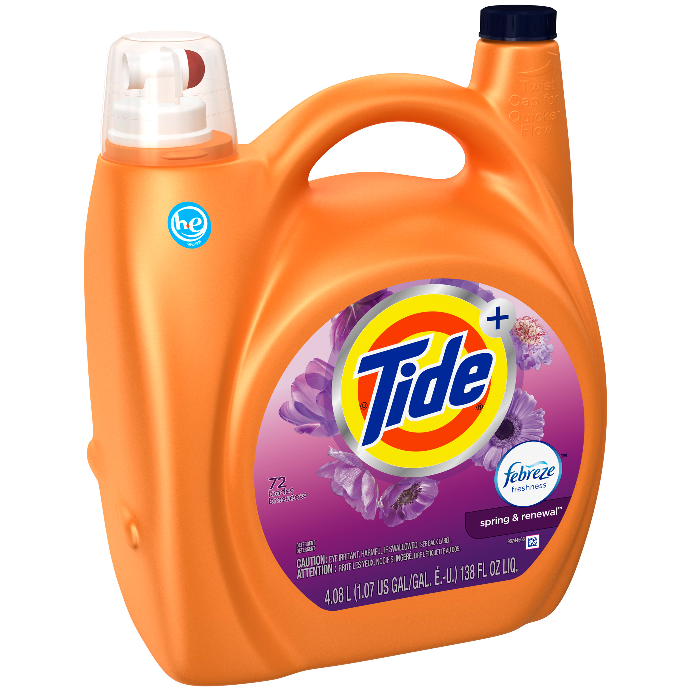Tide Febreze Freshness Spring And Renewal Scent Turbo Clean Liquid Laundry Detergent