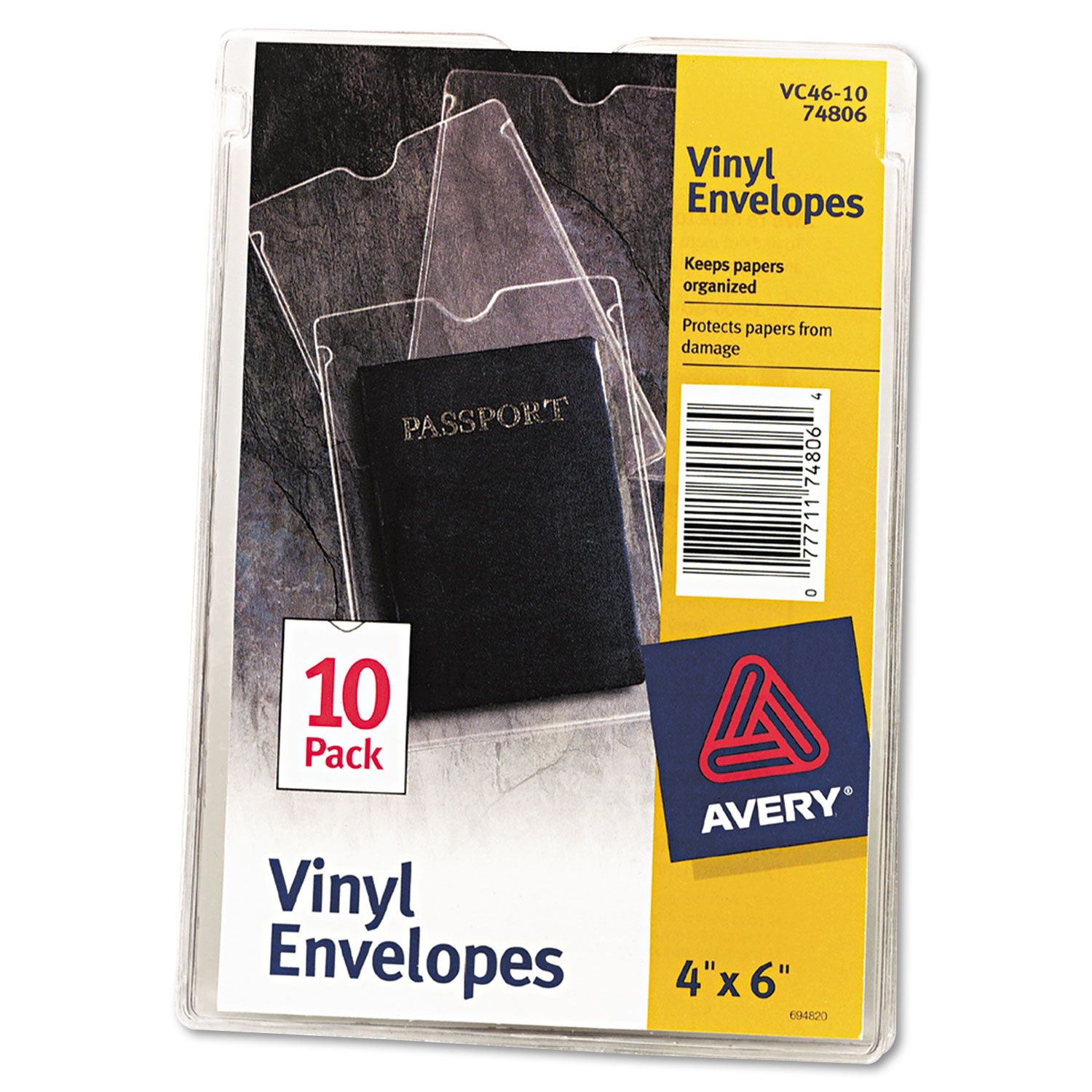 Avery Ave74806 Top-load Clear Vinyl Envelopes Withthumb Notch 4 X 6 10 Pack