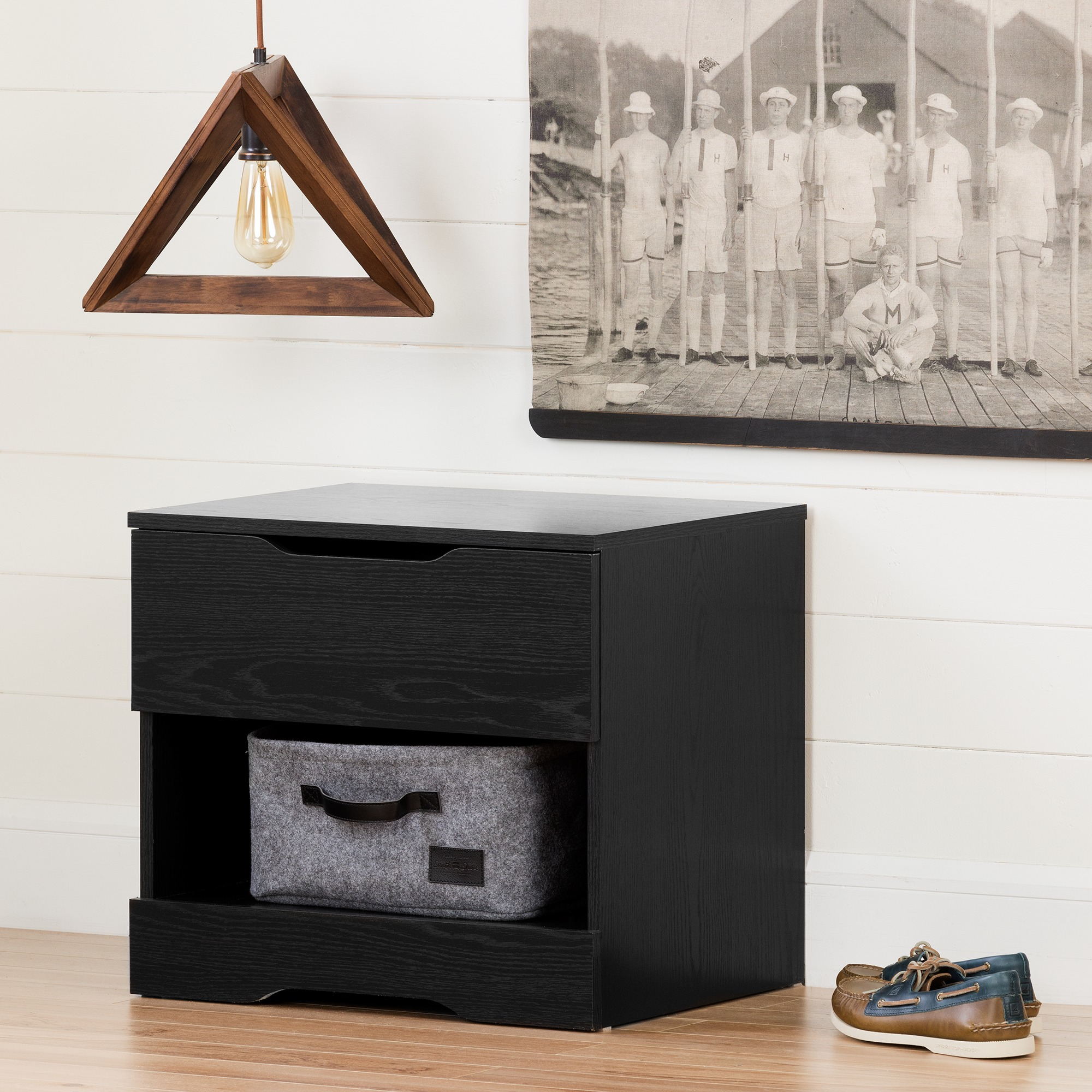 South Shore Holland 1 Drawer Nightstand Black Oak