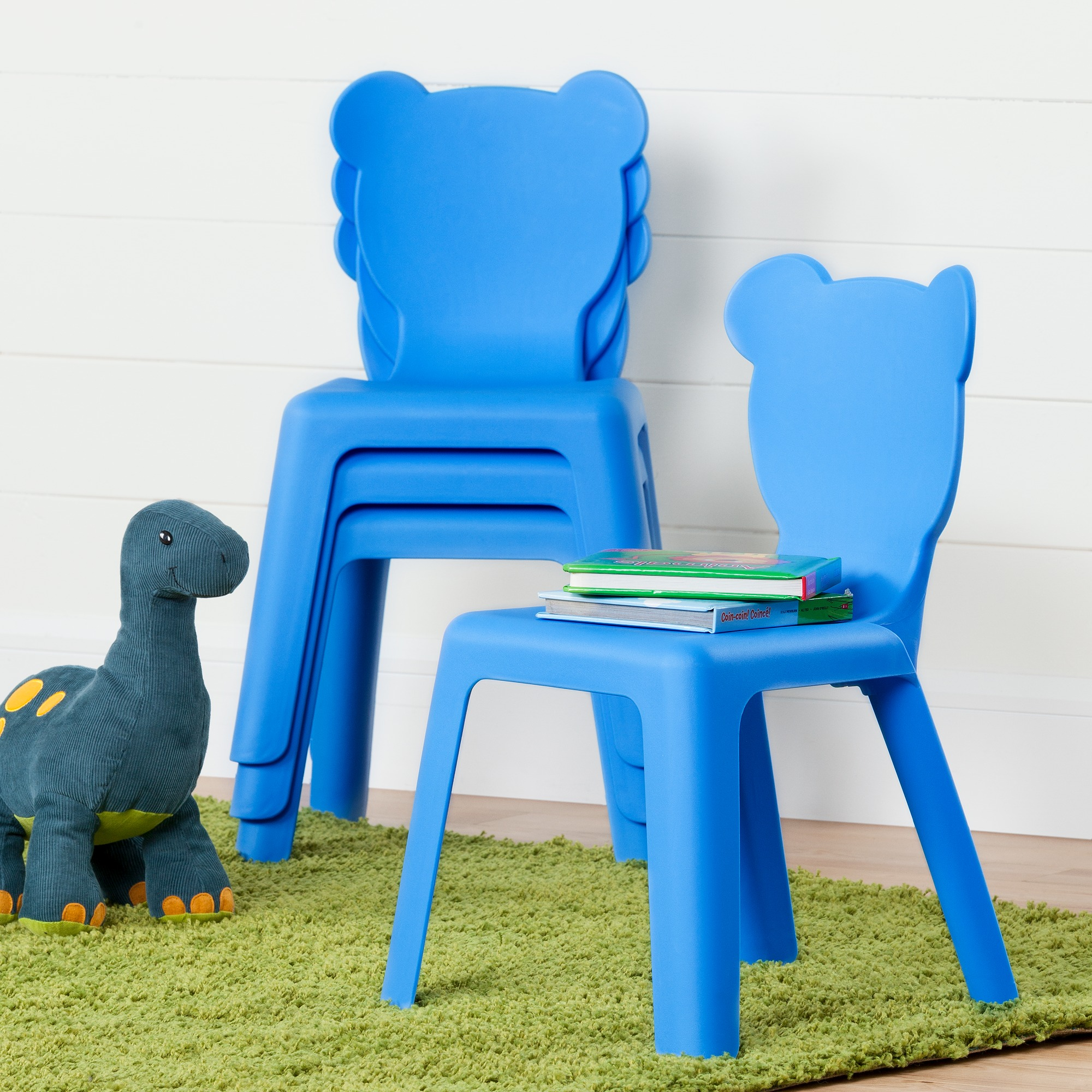 South Shore Crea Blue Kids Plastic Stacking Chairs 4 Pack