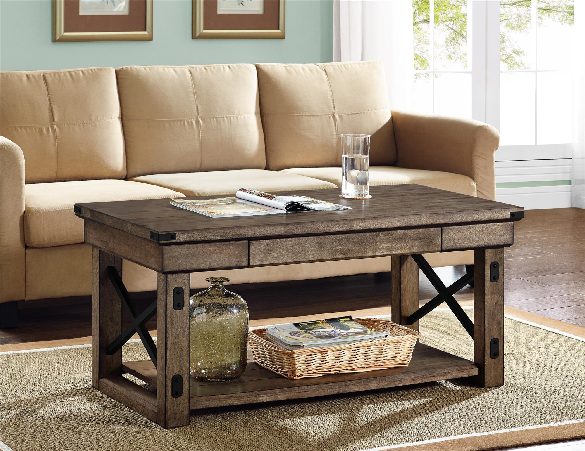 Dorel Wildwood Rustic Gray Coffee Table