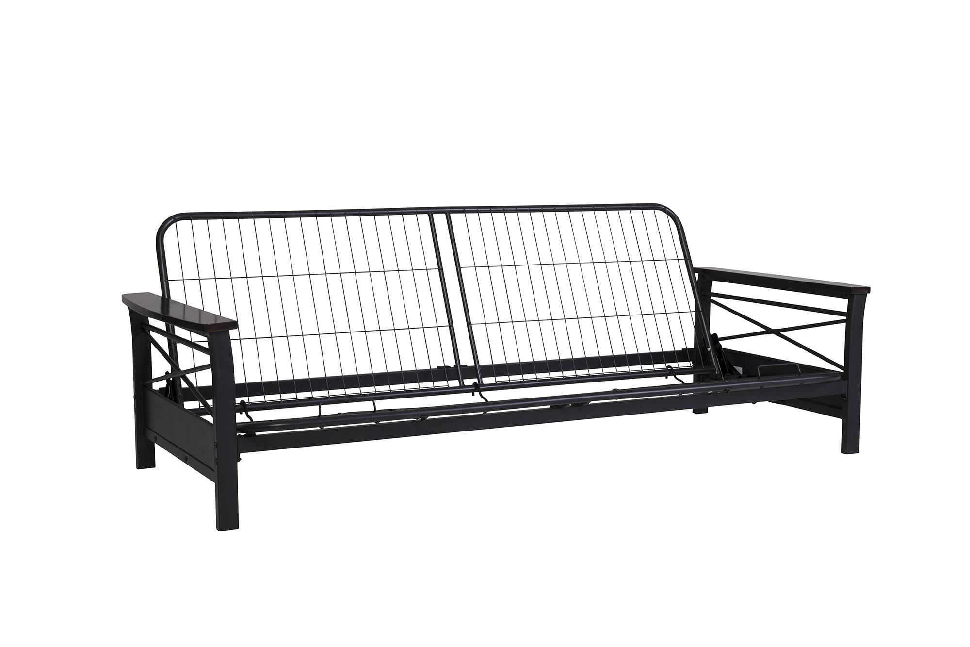 metal sofa bed parts leather white uk dorel nadine futon frame with espresso wood armrests