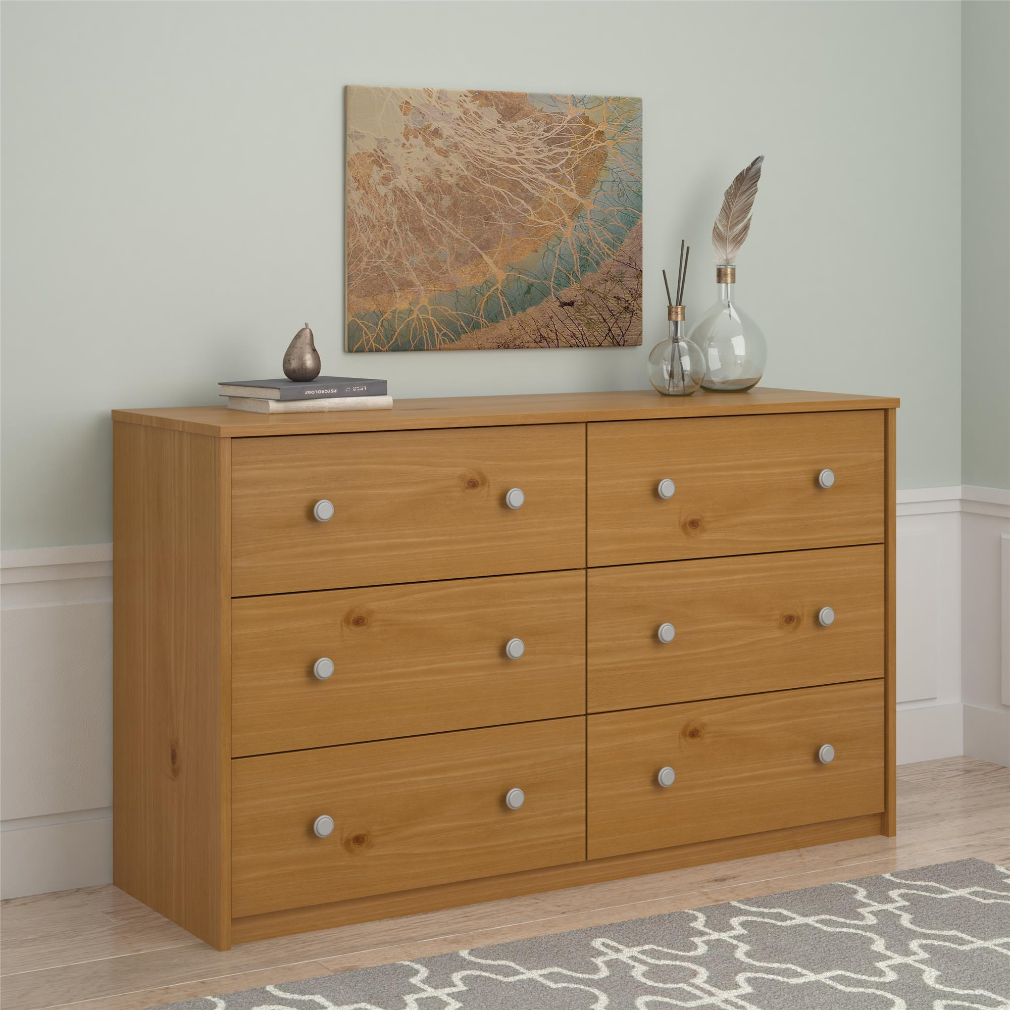 essential home belmont 6 drawer dresser pine