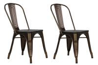 Dorel Fusion Antique Bronze Metal Dining Chair with Wood ...