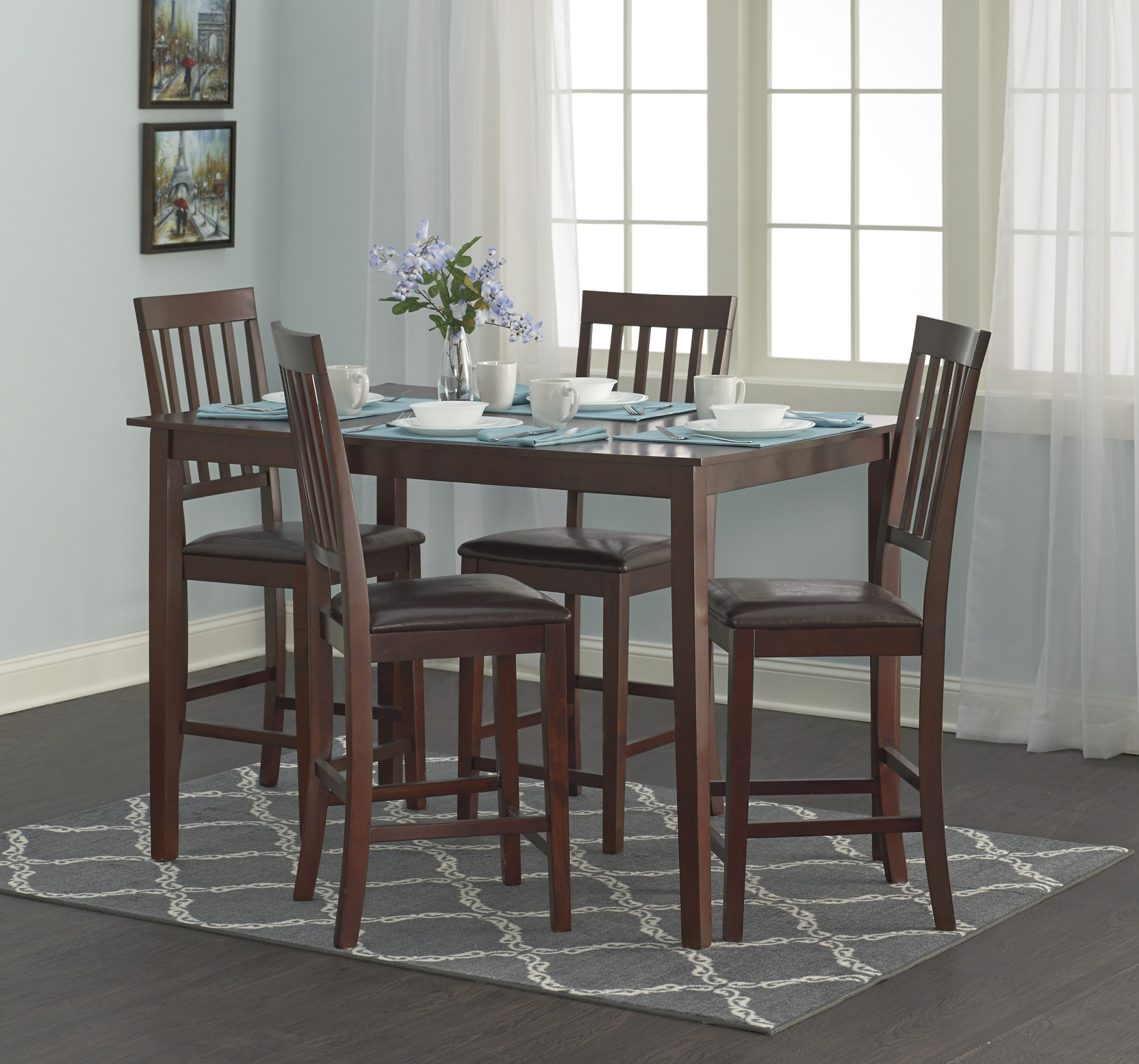 High Top Chairs Essential Home Cayman 5pc High Top Dining Set Home