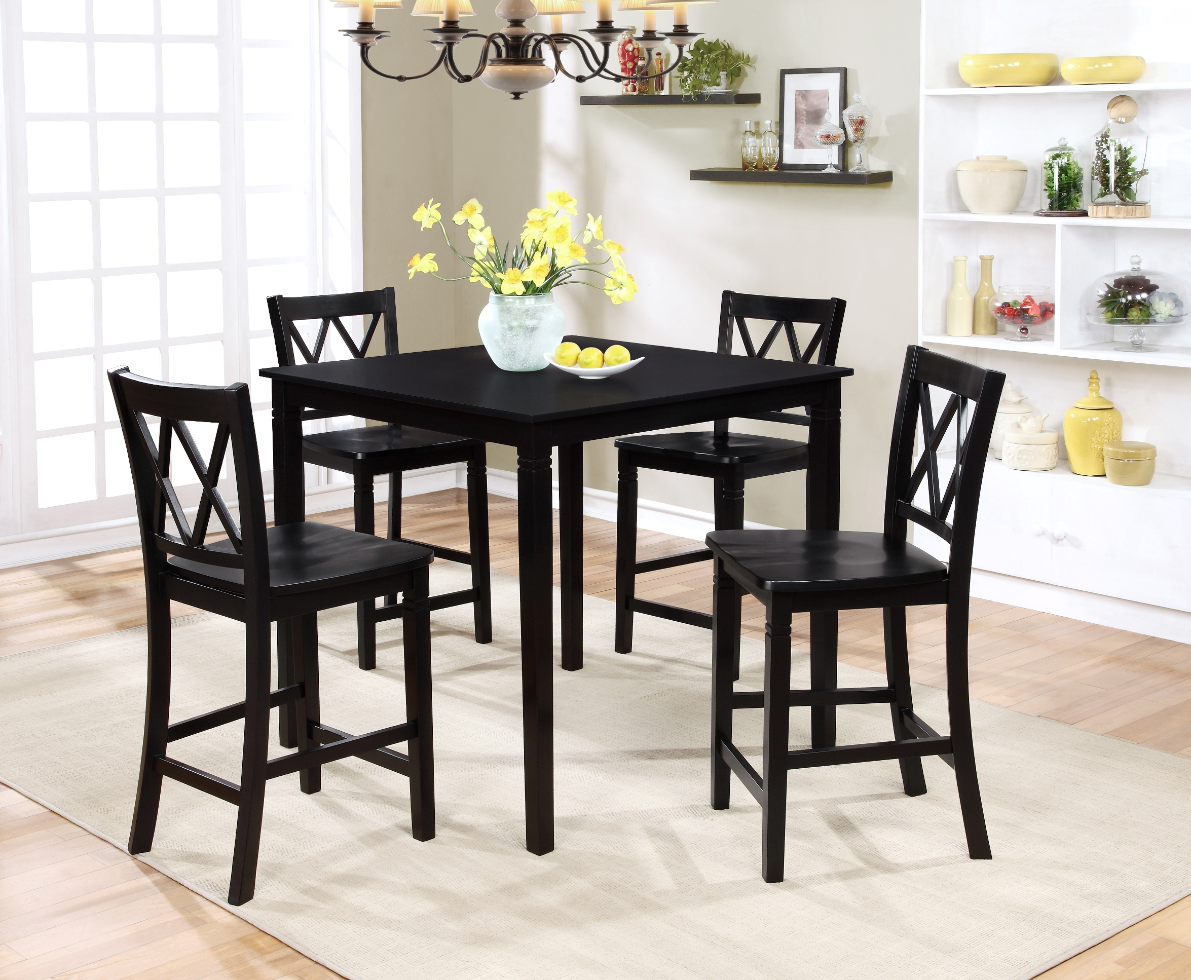 black dining table and chairs wedding chair covers hire norwich sets kitchen sears essential home dahlia 5 piece square set