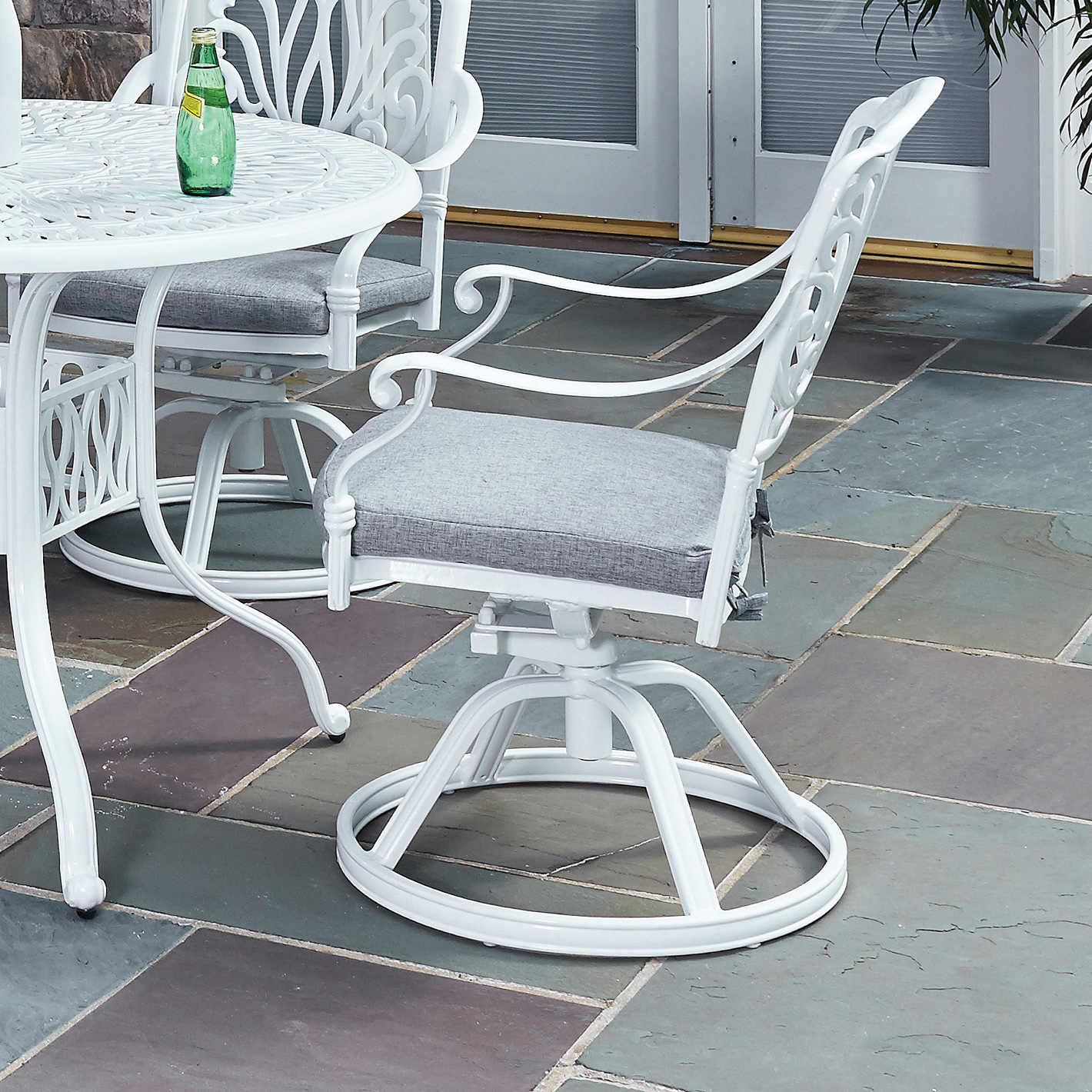 Home Styles Floral Blossom White Swivel Chair w Cushion