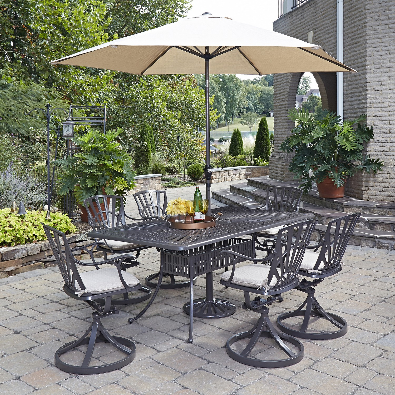 Home Styles Largo 8pc Dining Set With Umbrella And Cushions