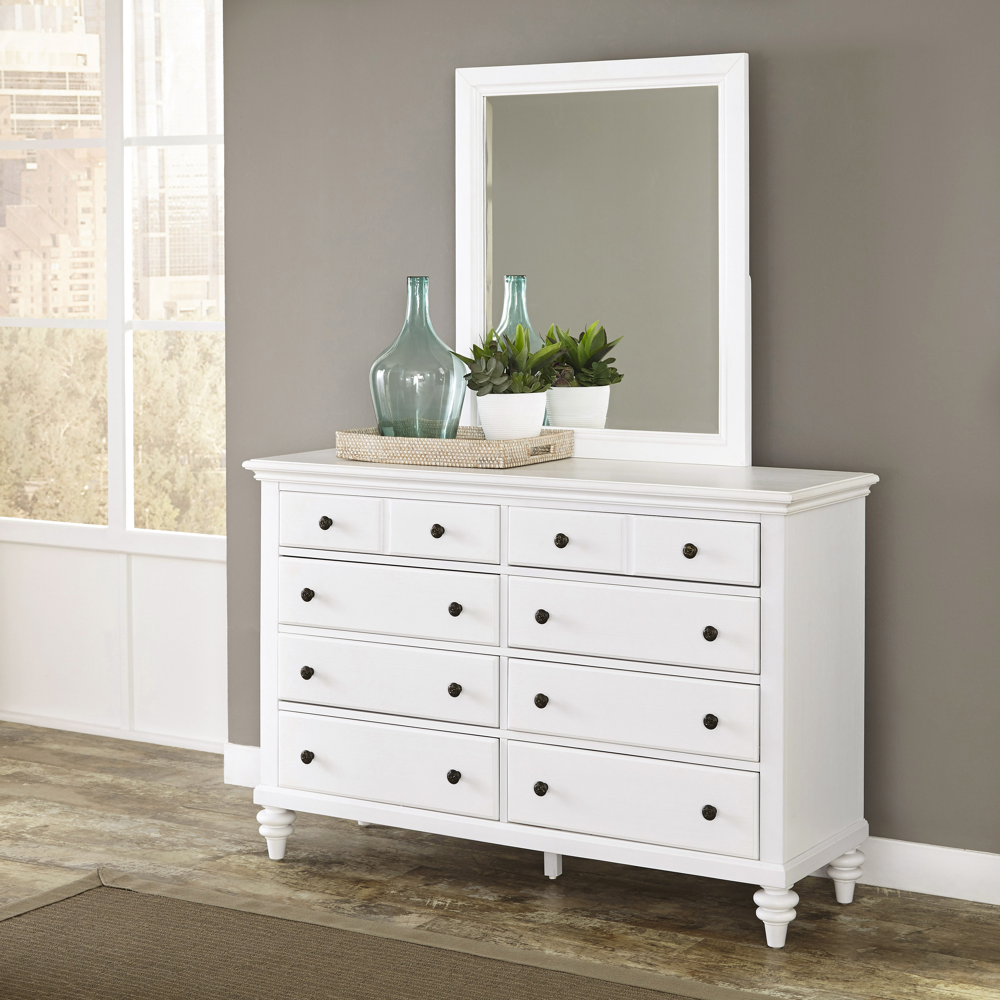 Home Styles Bermuda Brushed White Dresser and Mirror