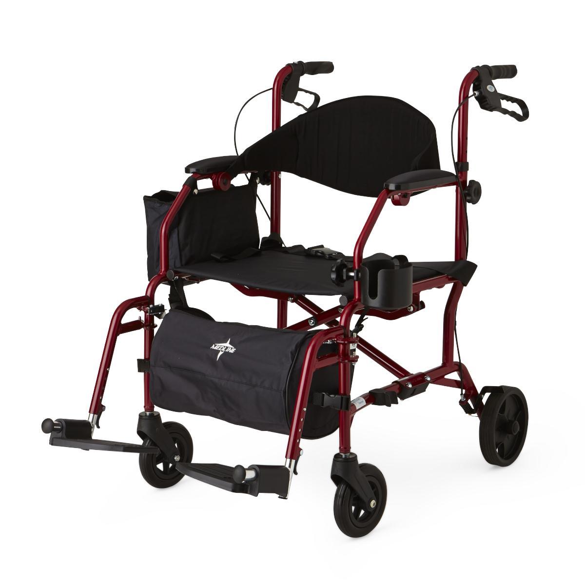 walker chair combo wheelchair ramp width medline combination rollator transport red