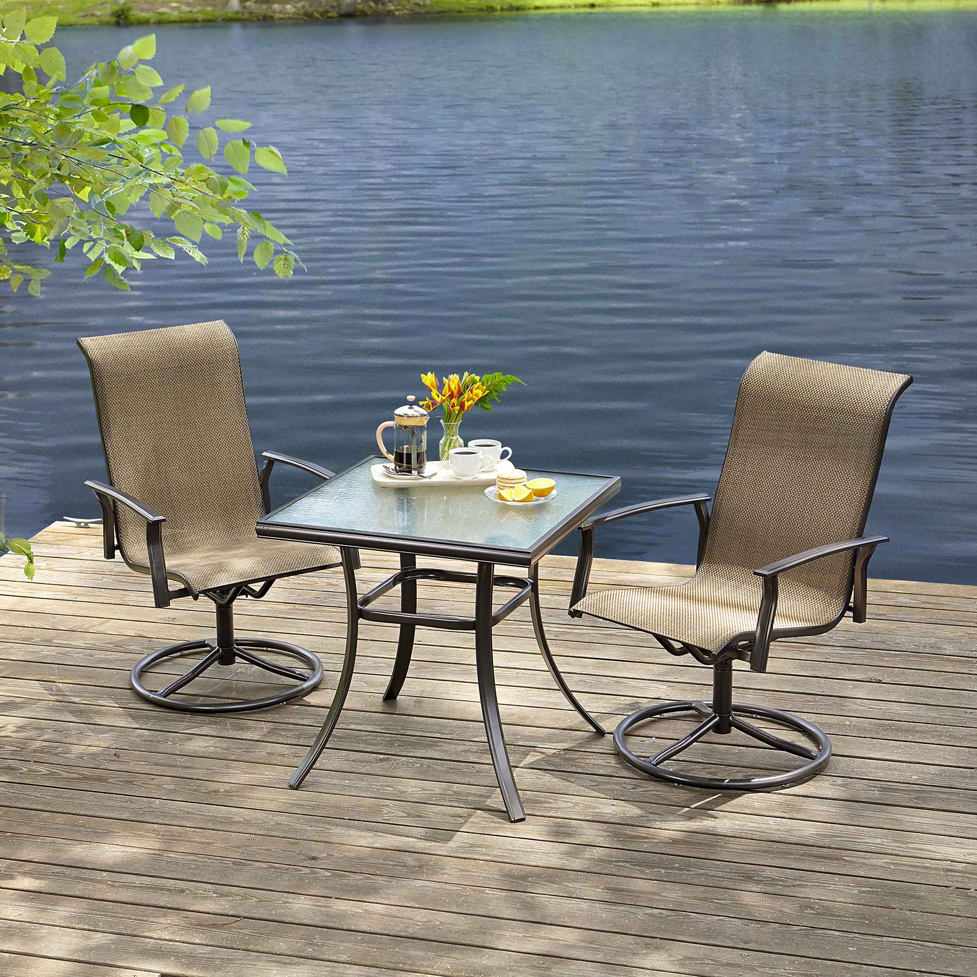 bistro table and chairs kmart barrel swivel chair essential garden fulton 3pc set outdoor living