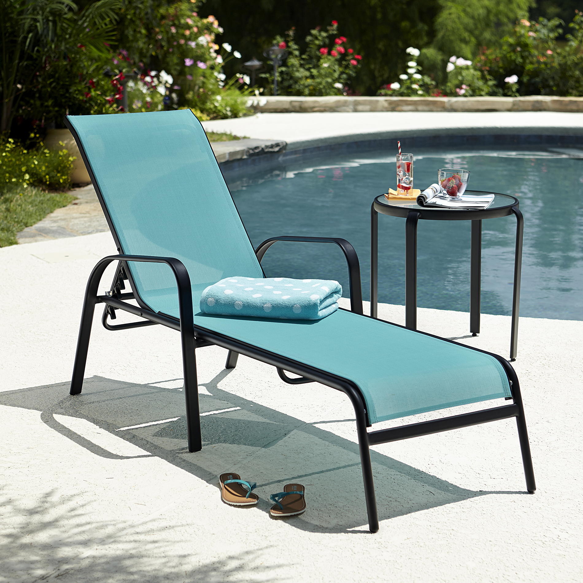 Blue Chaise Lounge Outdoor Furniture