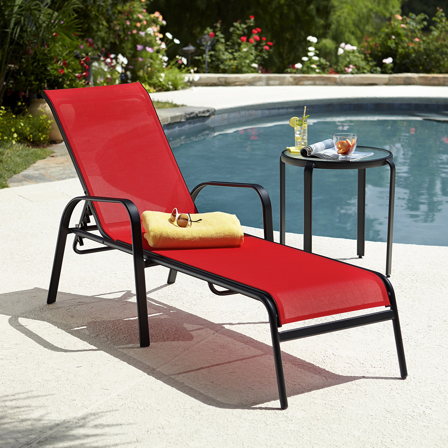 red lounge chair overstuffed club chairs essential garden bartlett solid stacking