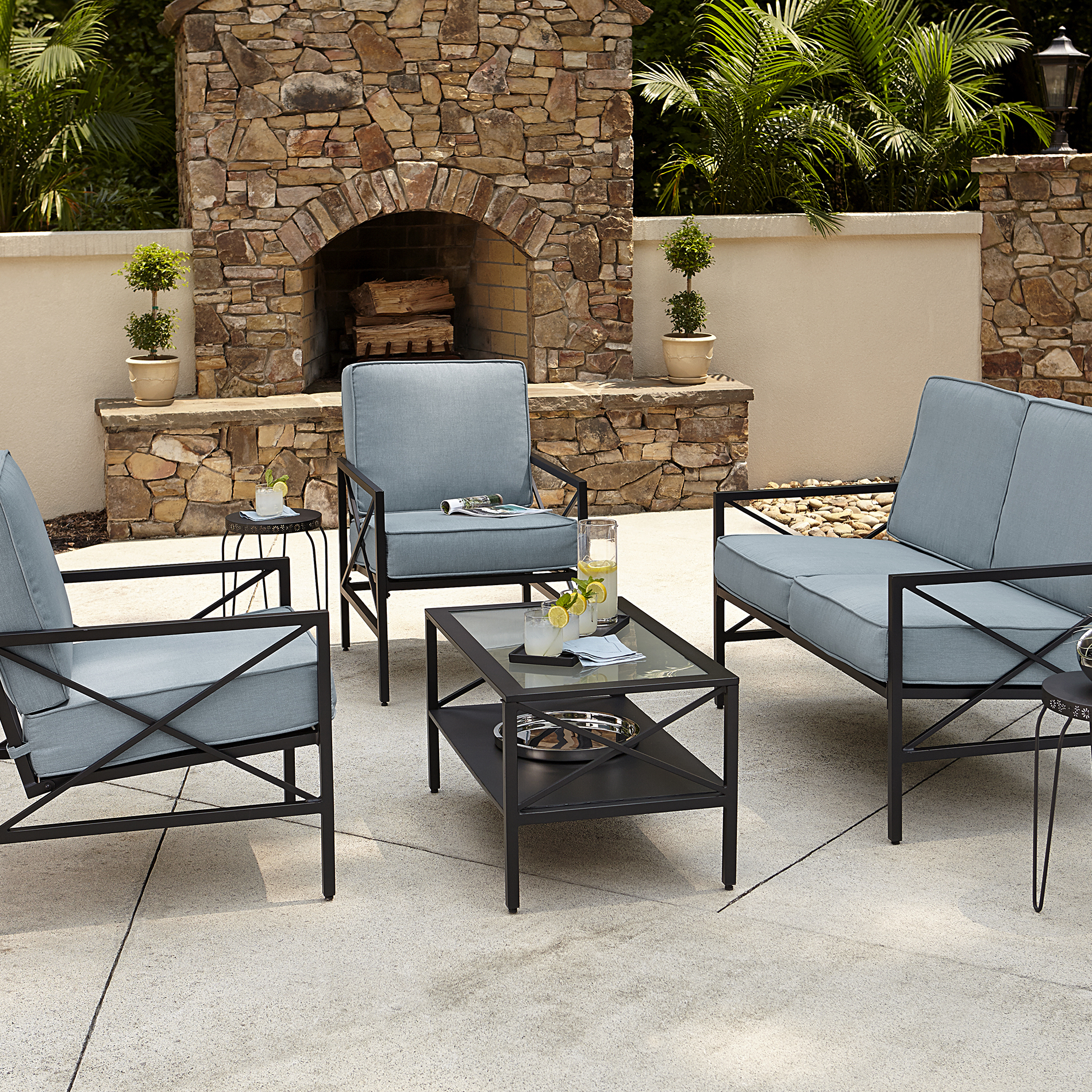 Essential Garden Anniston Blue 4 Piece Seating Set - Kmart