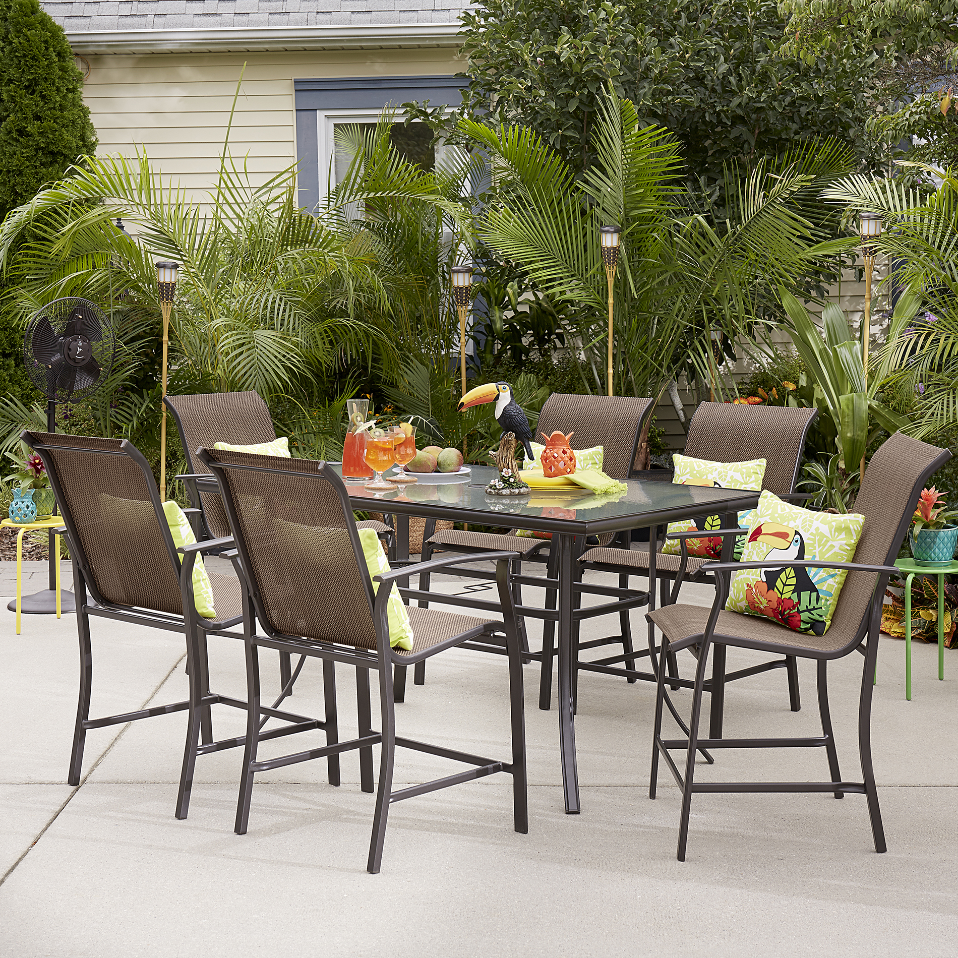 Essential Garden Fulton 7 Piece High Dining Patio Set