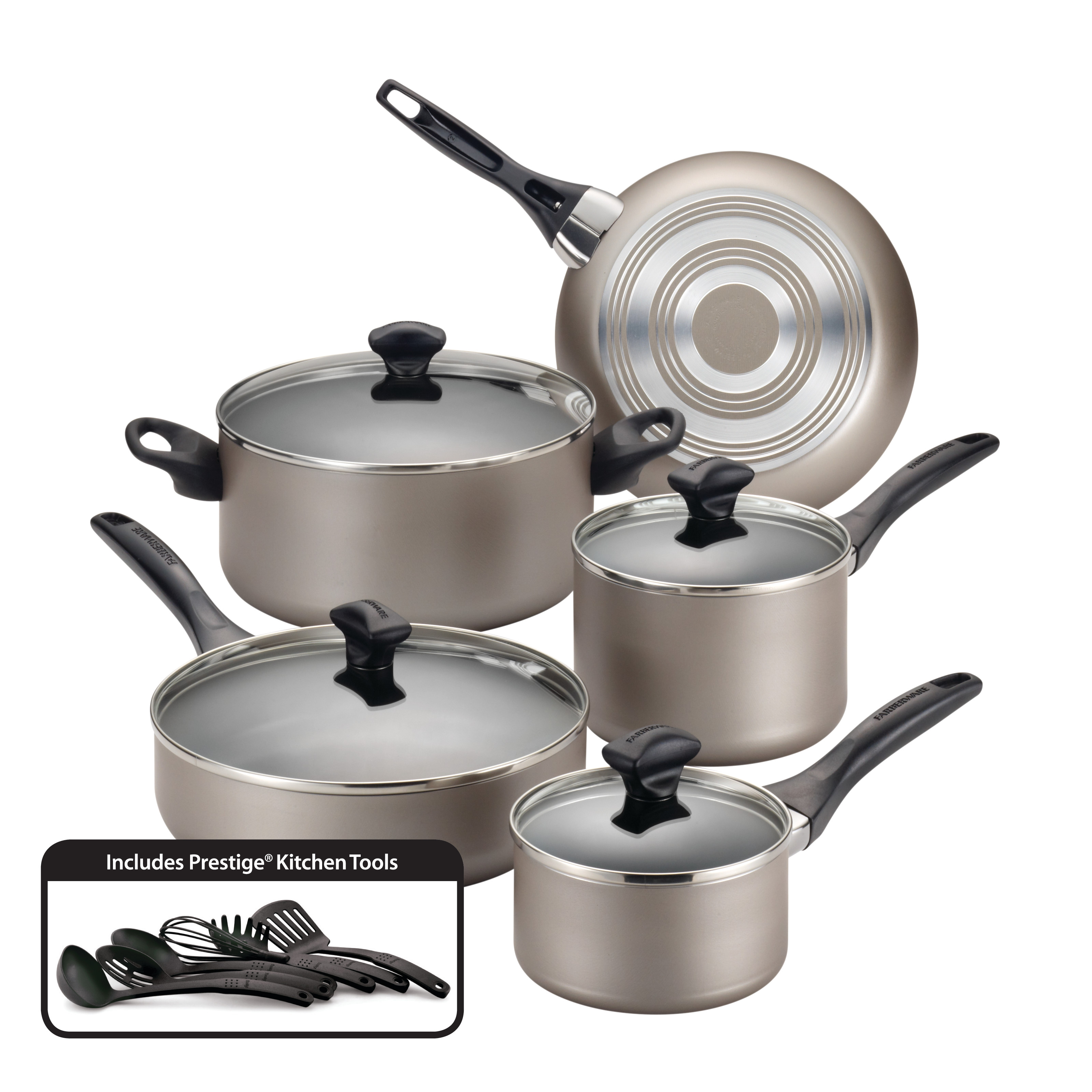 kitchen cookware sets cost for cabinets farberware dishwasher safe nonstick 15 piece set