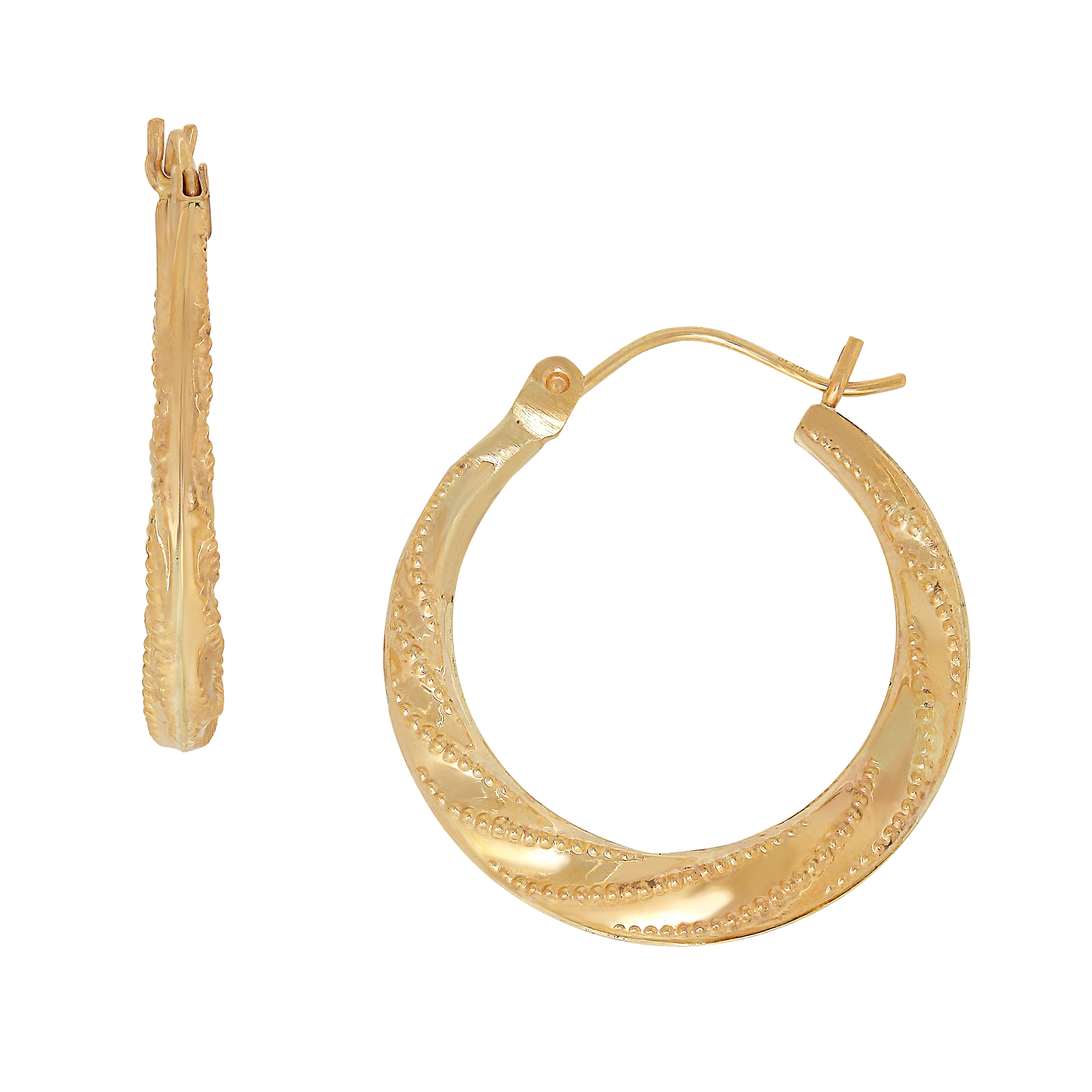 10 Karat Yellow Gold Swirl With Bead Pattern Hoop Earrings