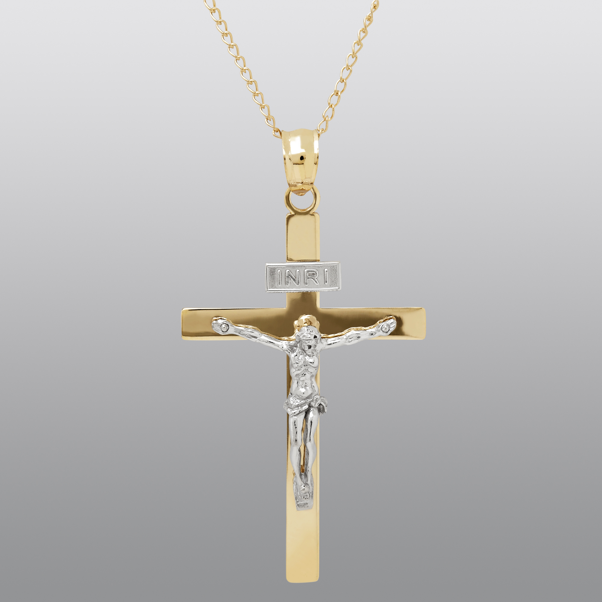 14k Yellow Gold Crucifix Necklace
