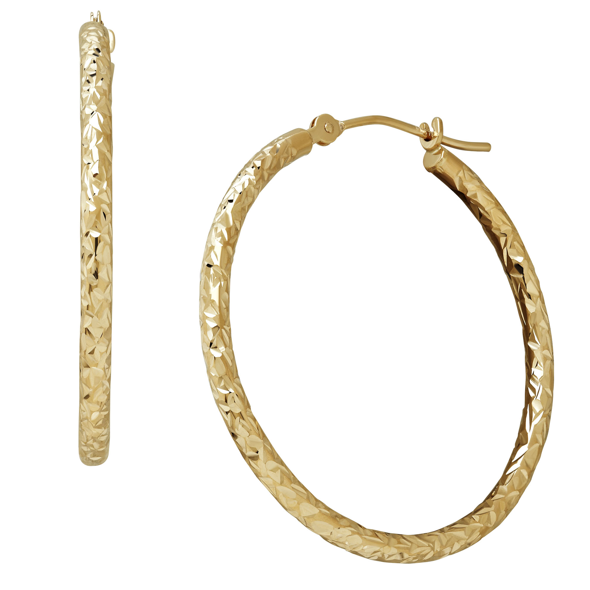 Diamond Cut Round Hoop Earrings