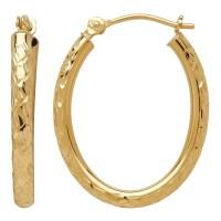 10 Karat Yellow Gold Diamond Cut 090X17X23 Millimeter Oval ...