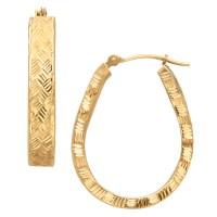 10 Karat Yellow Gold Polished Diamond Cut Pear Hoop ...