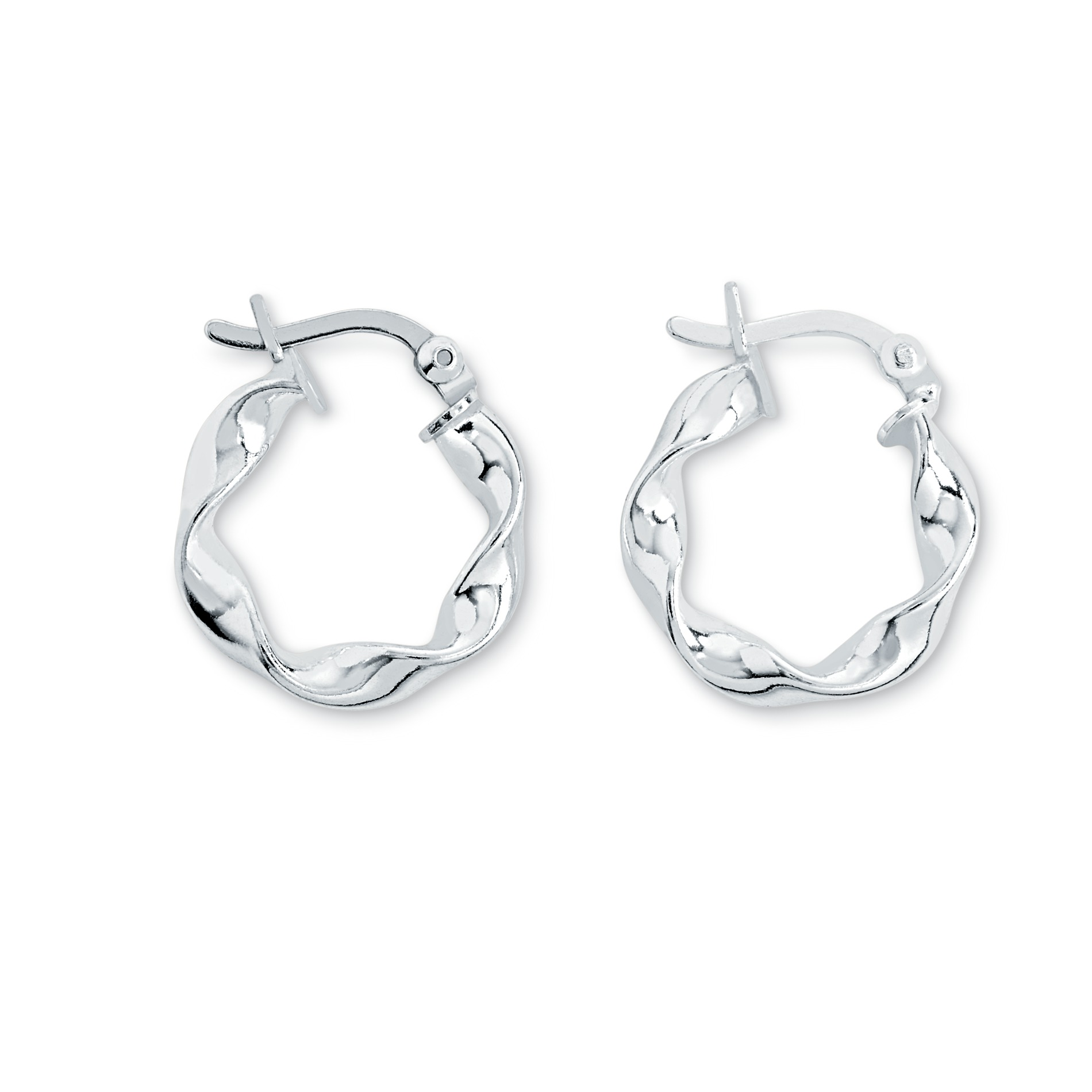 Sterling Silver Small Wavy Hoop Earrings