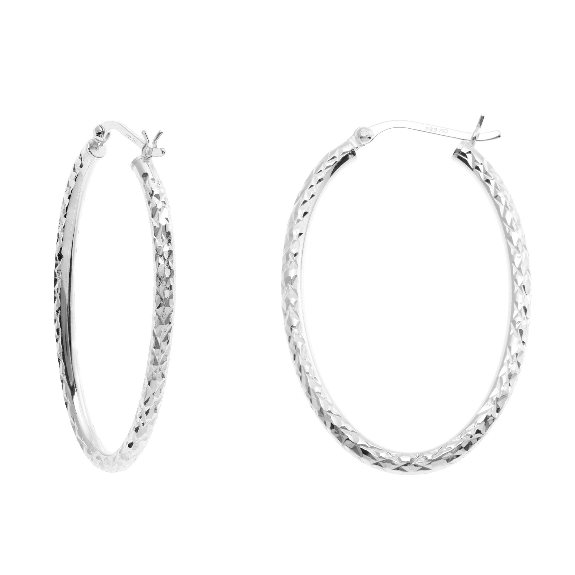 Sterling Silver Oval Diamond Cut Hoop Earrings