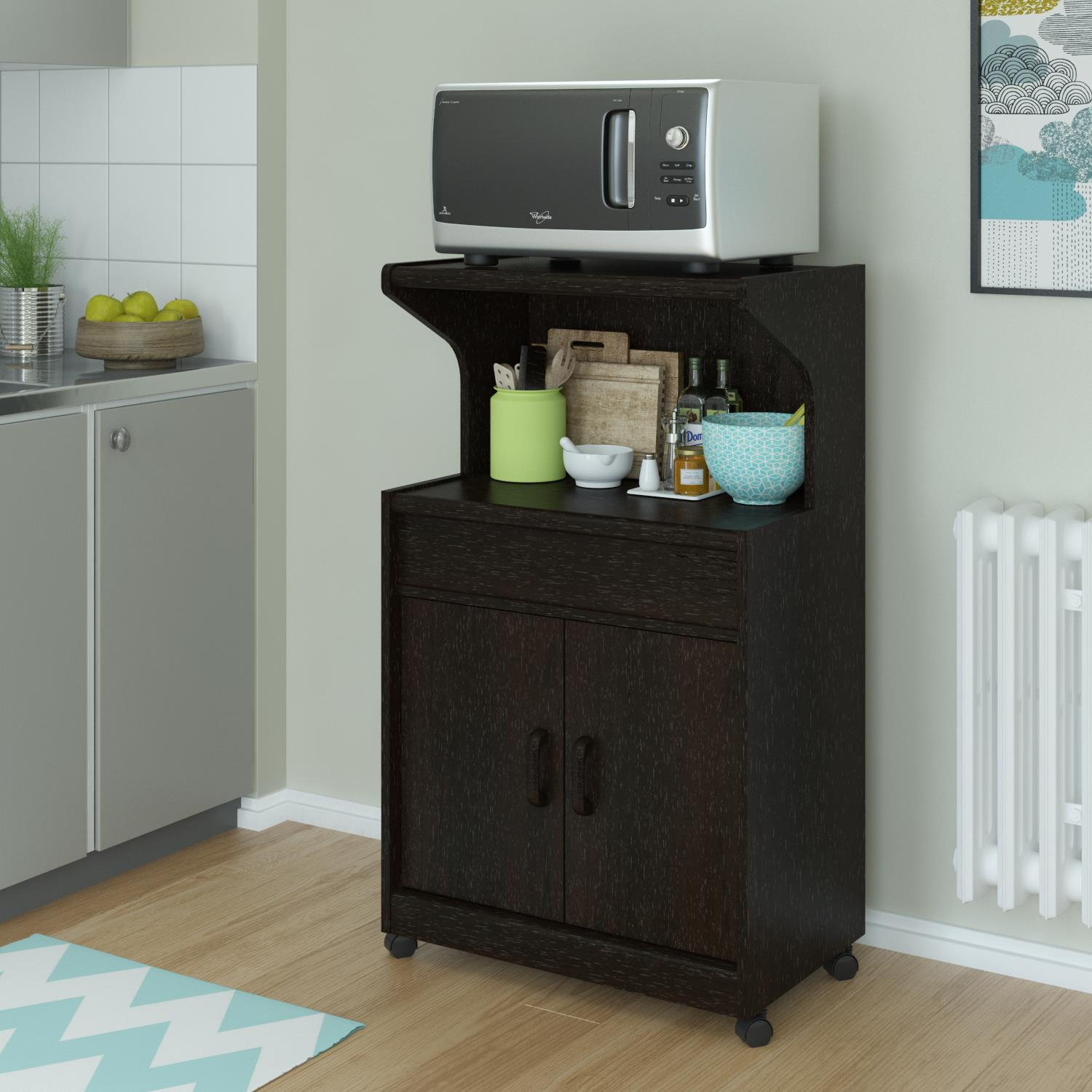 brown wooden microwave cart rolling