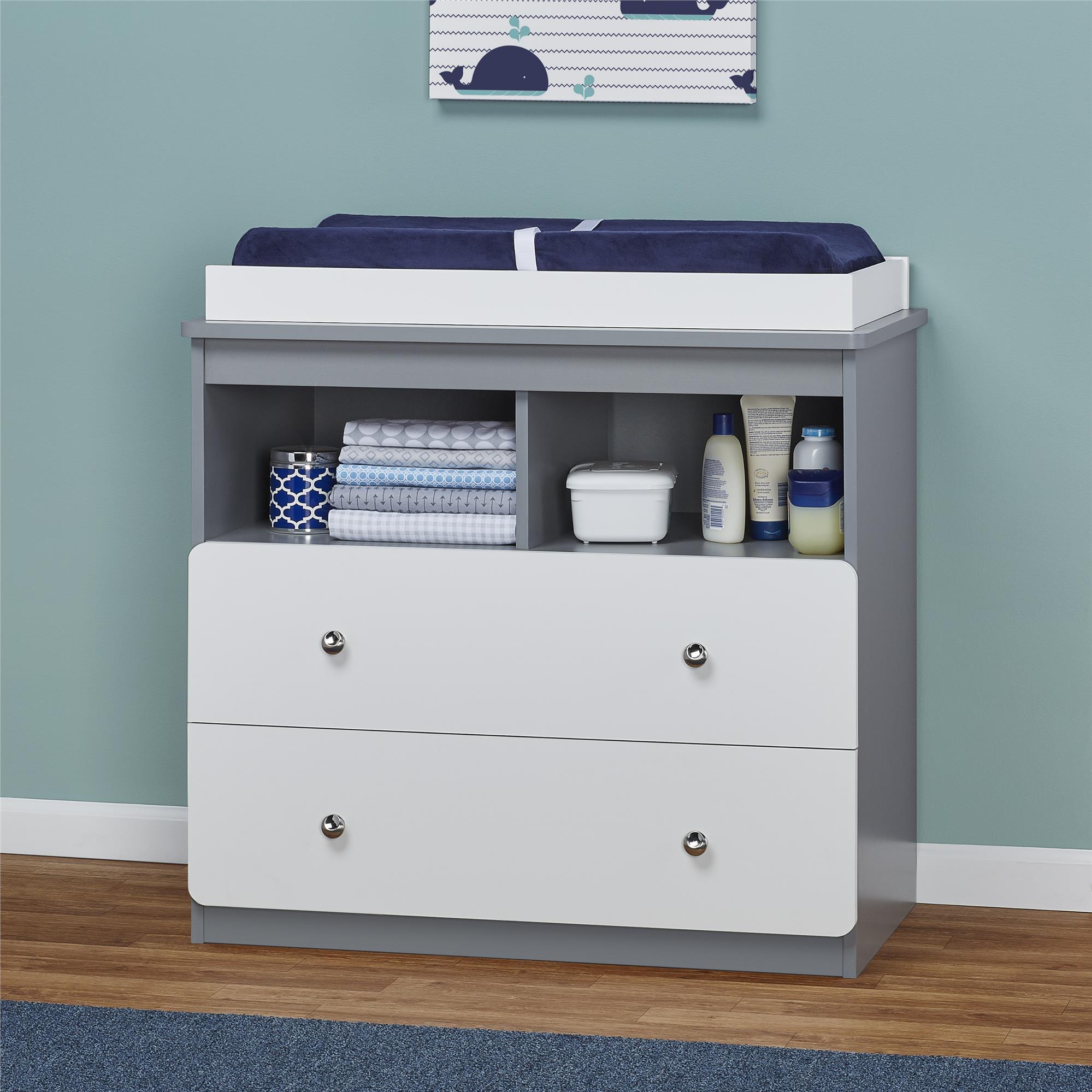 Nursery Changing Table Storage Drawers Shelves Diaper Station Dresser Furniture  eBay