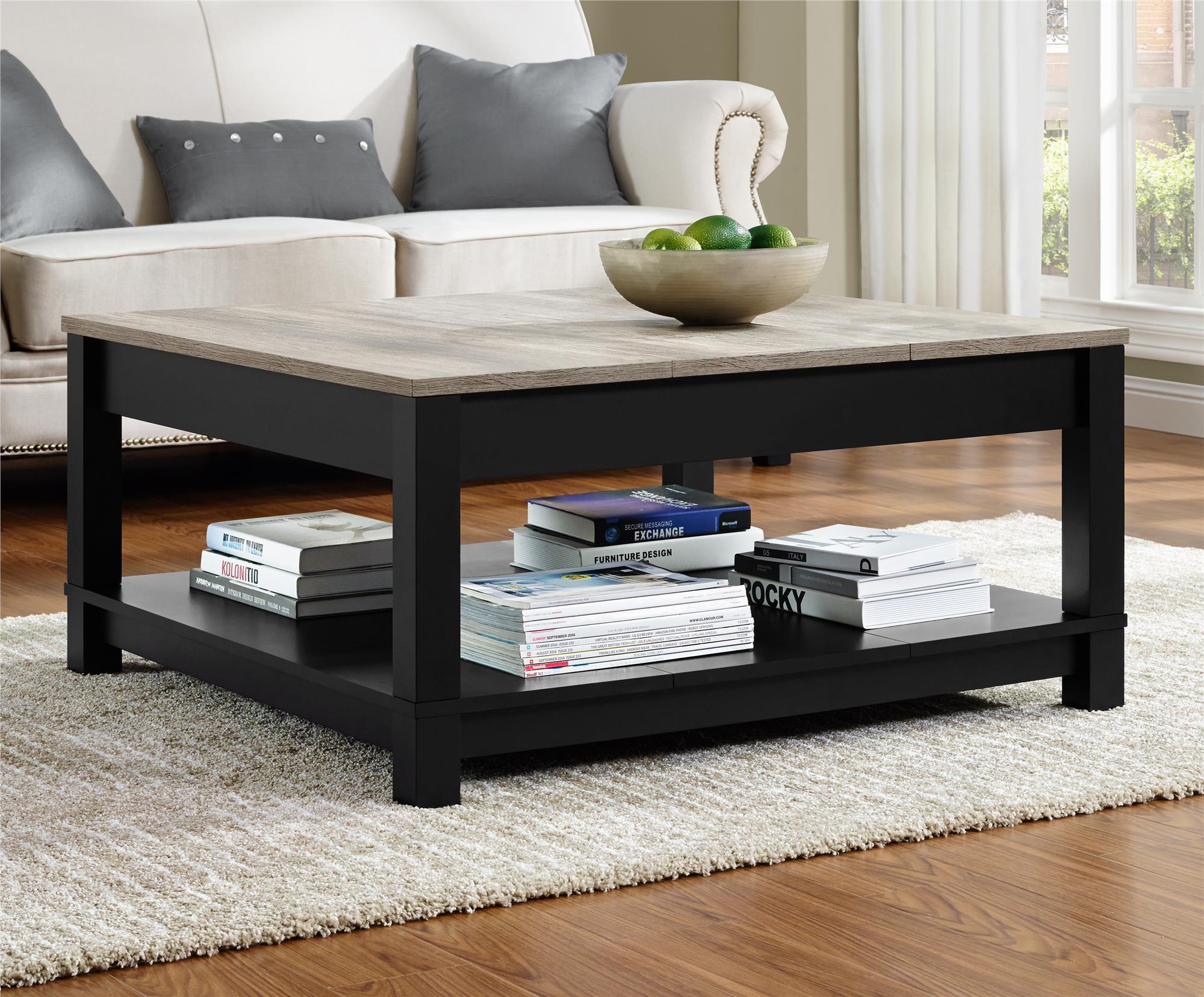 Dorel Carver Black/Sonoma Oak Coffee Table