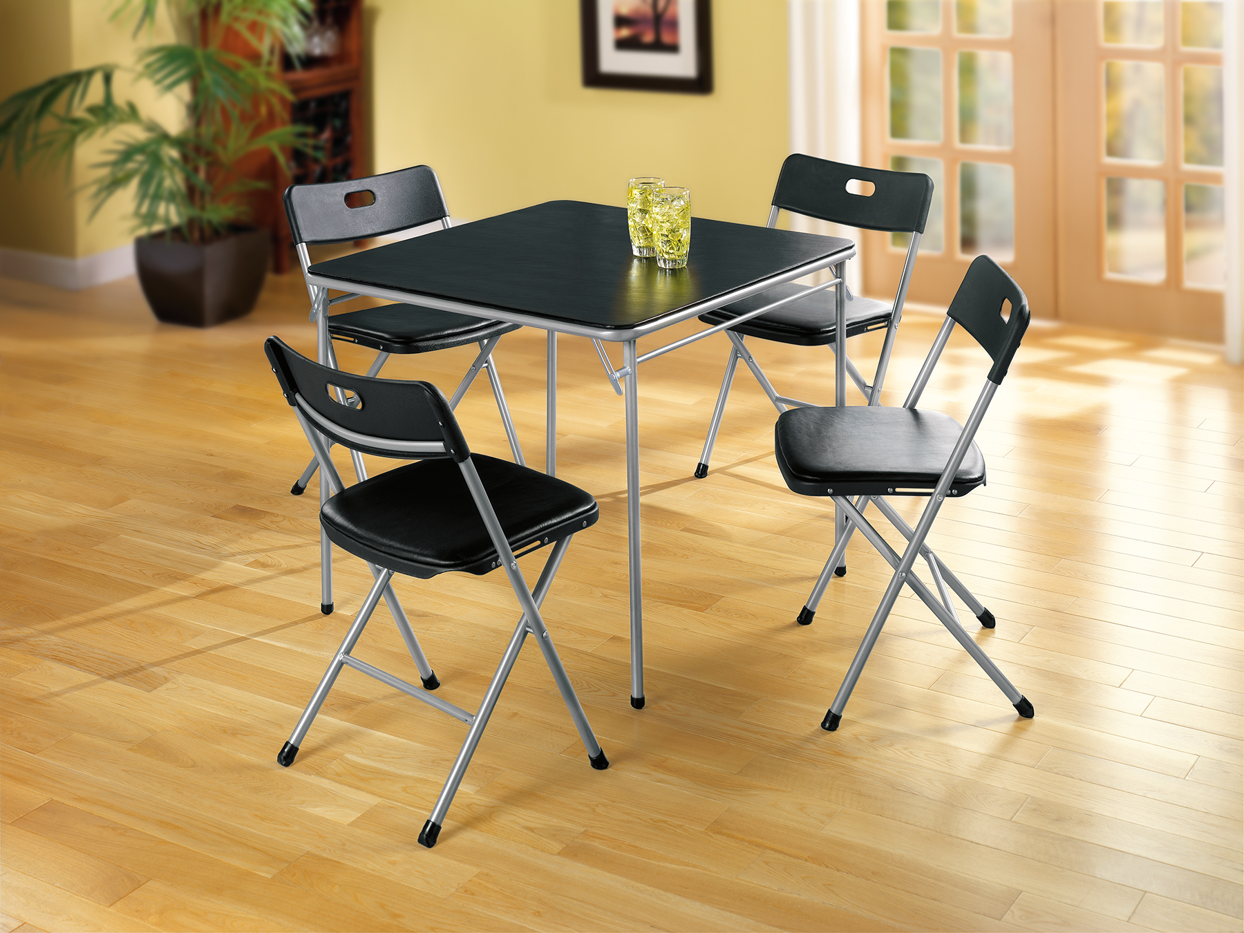 Folding Card Table And Chairs Essential Home 5 Piece Card Table And Chairs Home