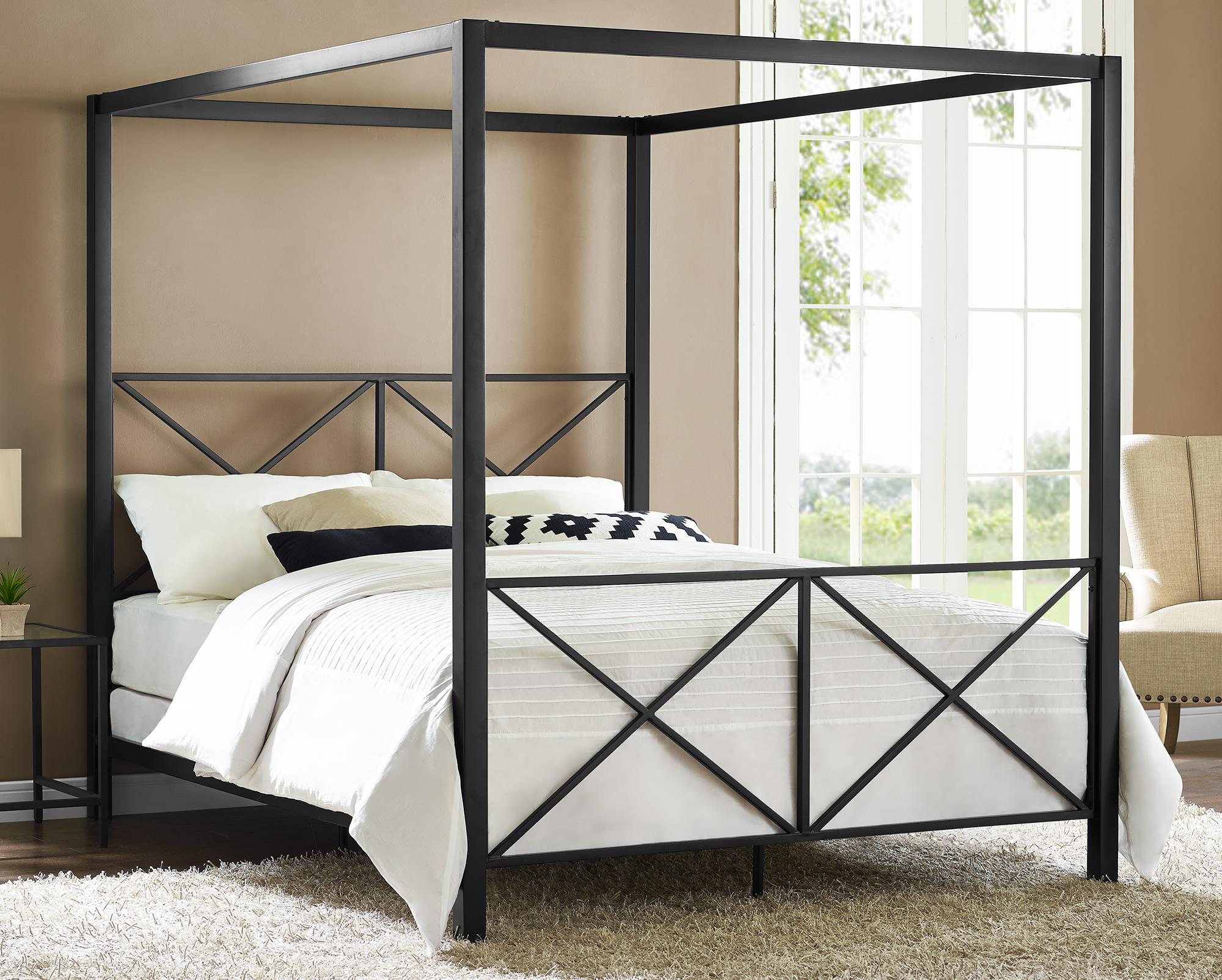 Dorel Rosedale Black Metal Canopy Queen Bed
