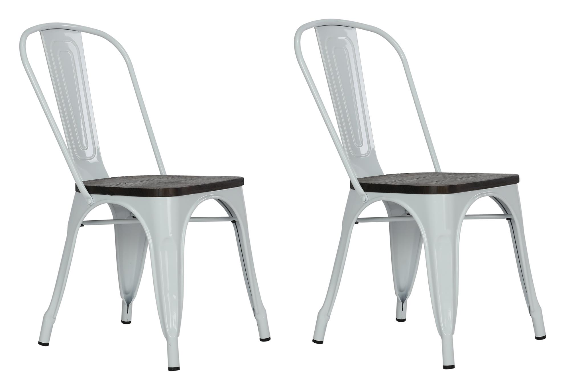 Dorel Fusion White Metal Dining Chair with Wood Seat Set of 2