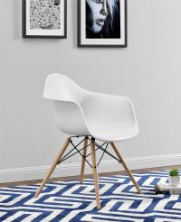 Dorel White Mid Century Modern Molded Arm Chair with Wood Leg