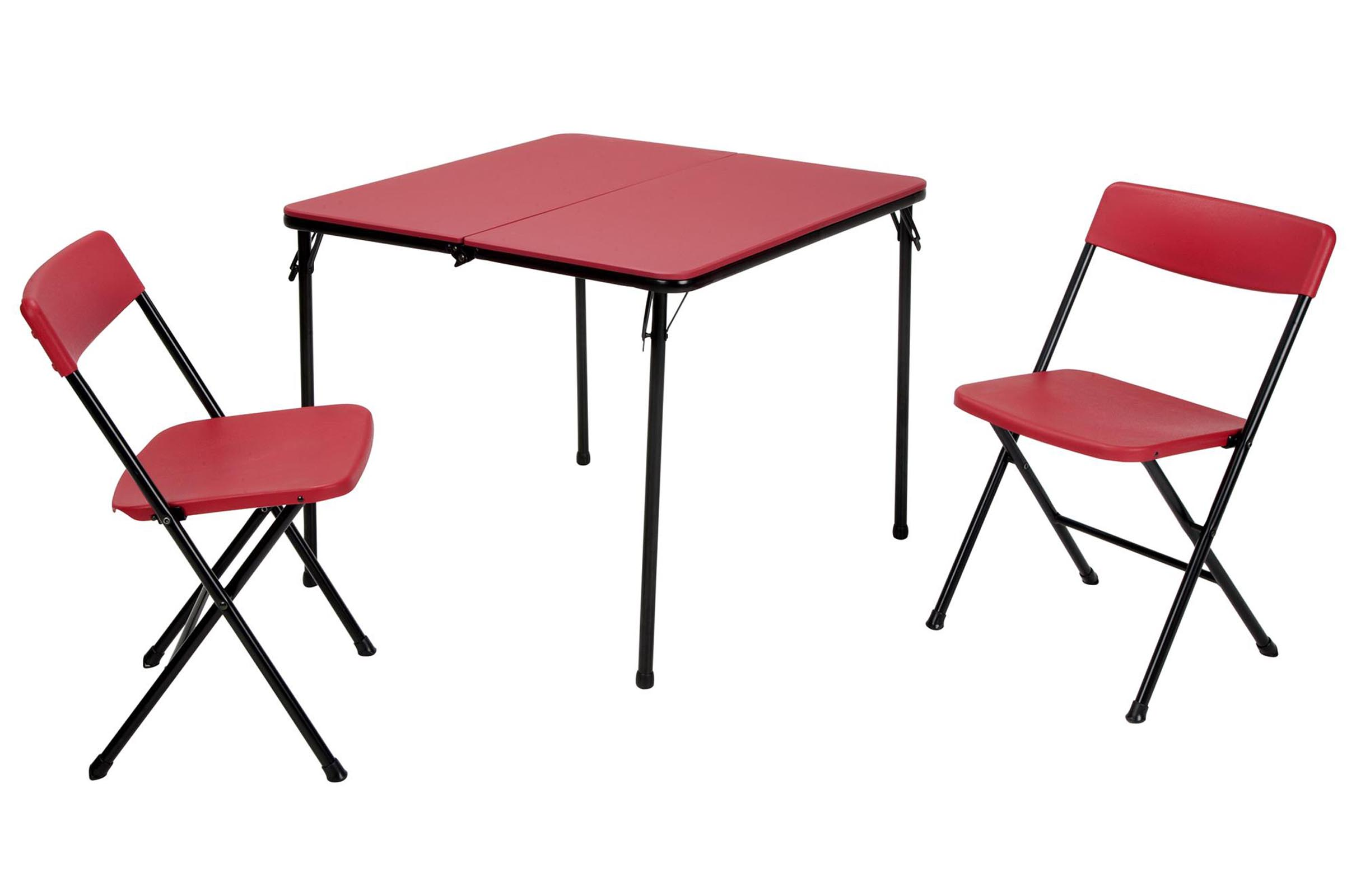 Cosco Card Table And Chairs Cosco Home And Office Products 3 Piece Red Center Fold