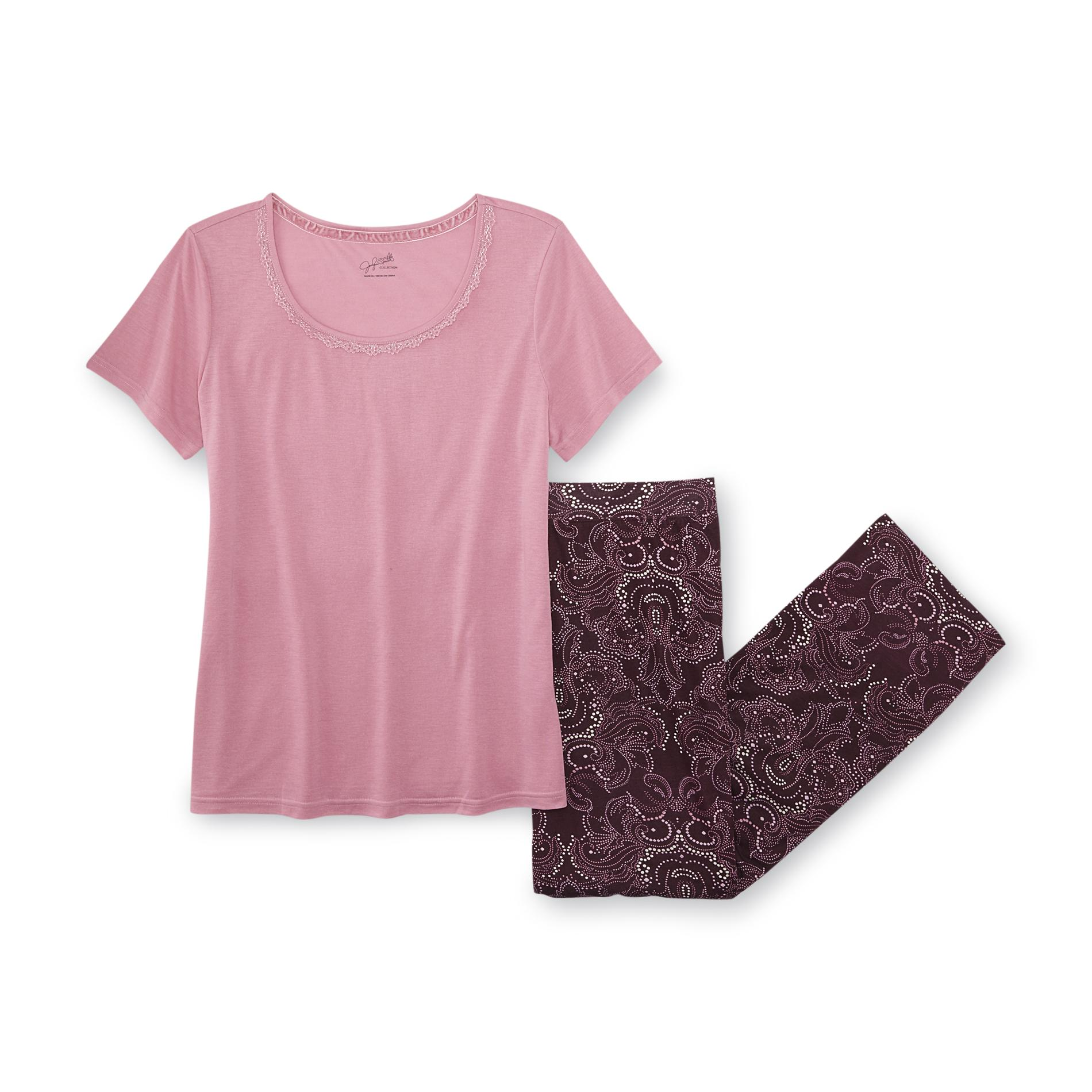 Jaclyn Smith Women' Knit Pajamas - Paisley Clothing Shoes & Jewelry