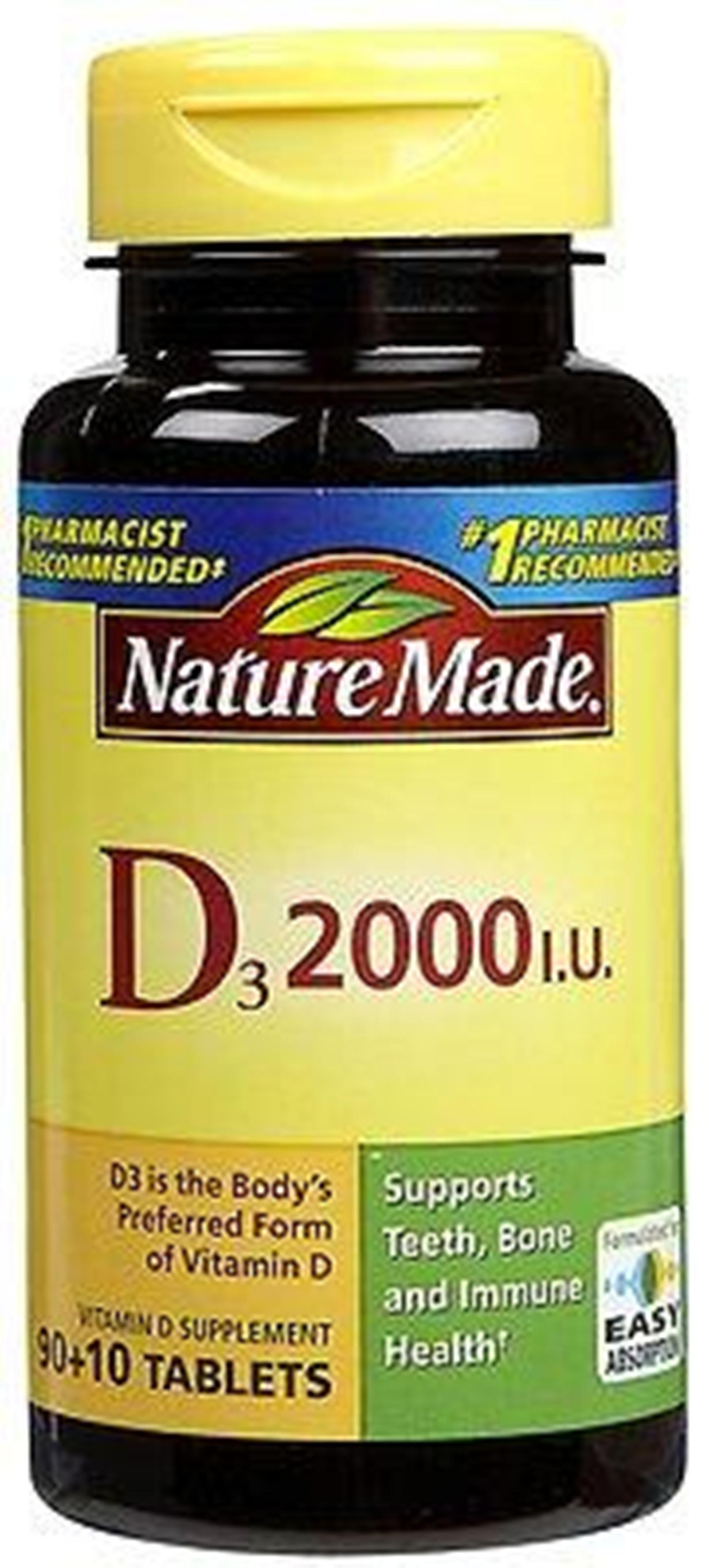Nature Made Vitamin D3 2000 IU 100 Tablets