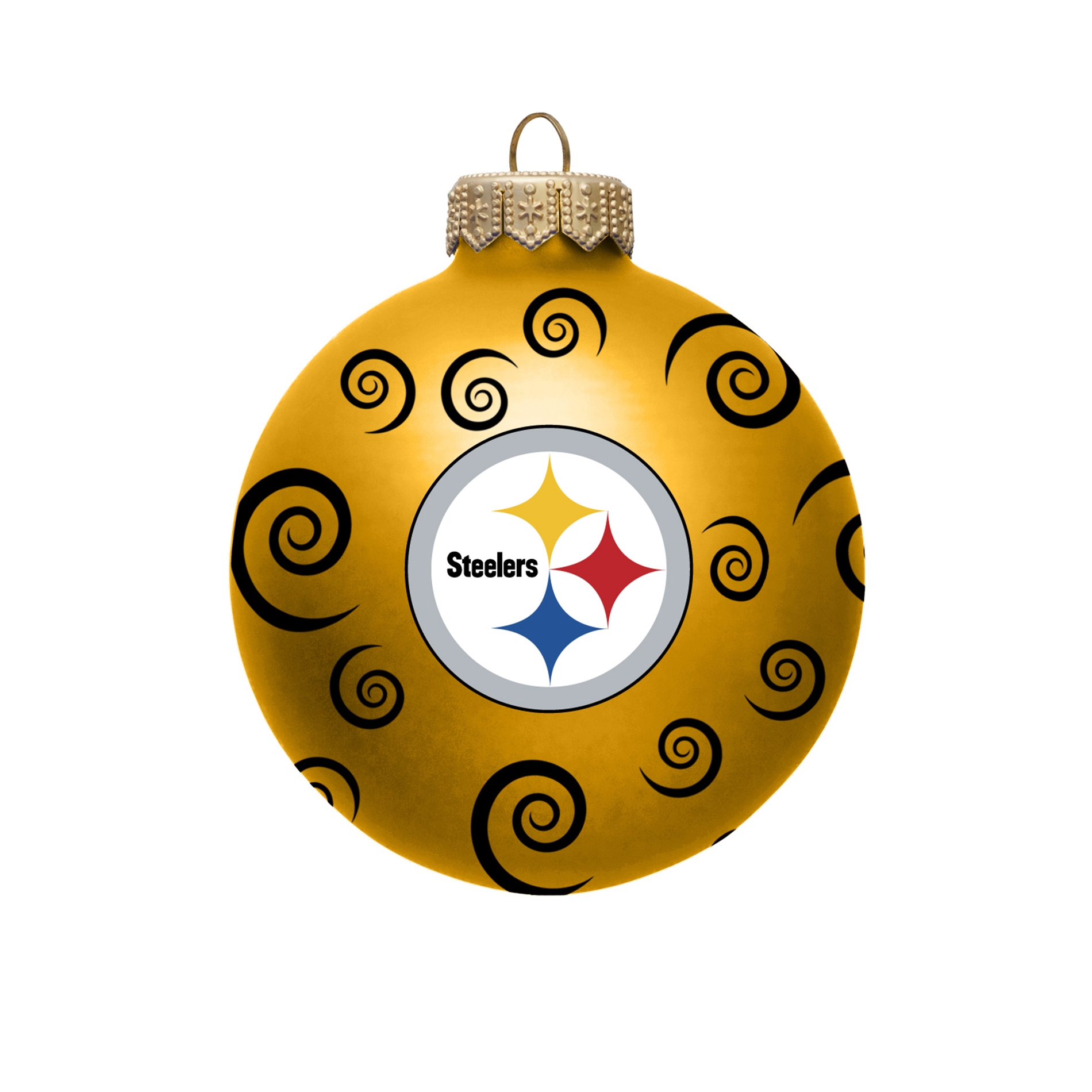 NFL Pittsburgh Steelers Ball Ornament With Swirls