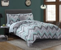 Essential Home Complete Bed Set - Chevron Gray Mint