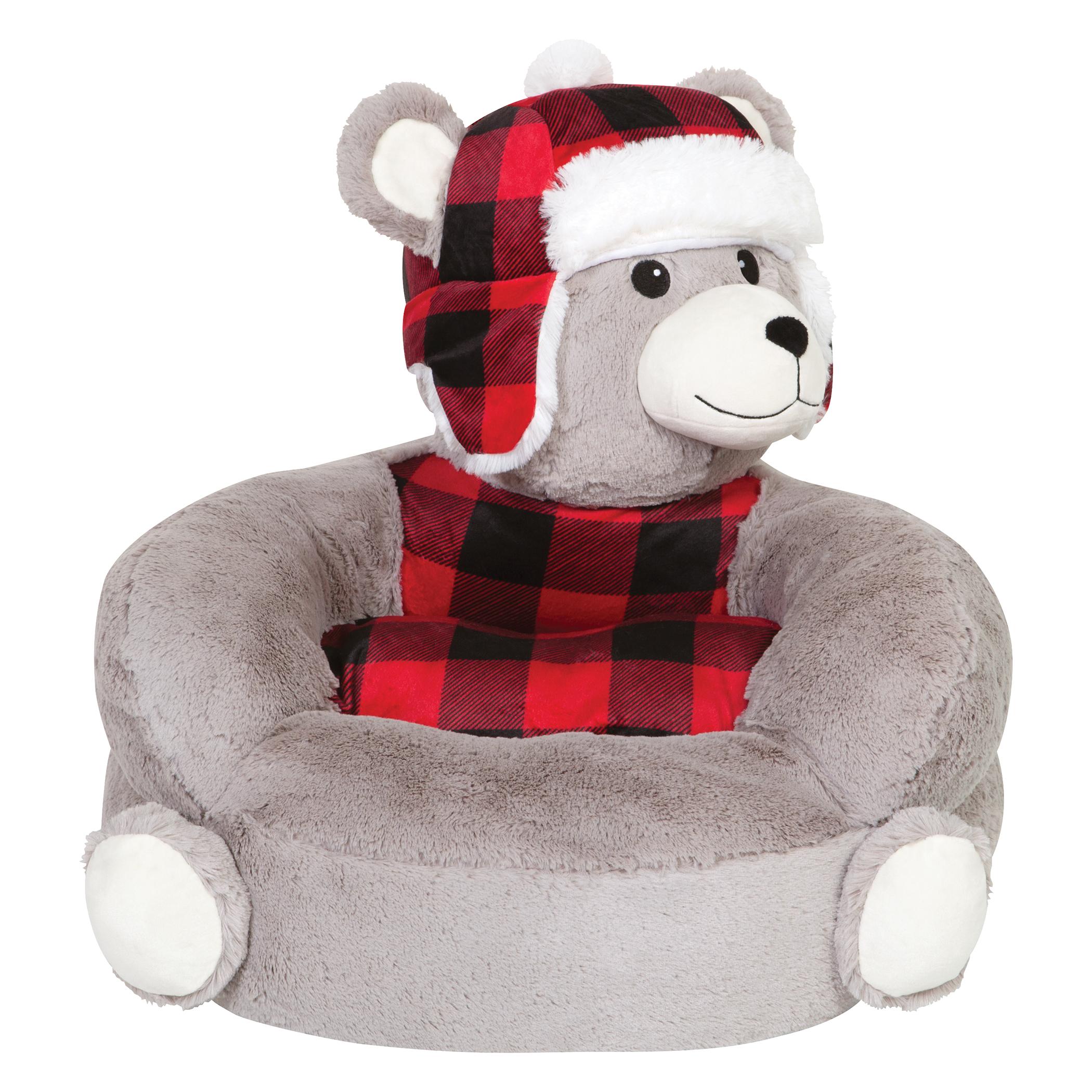children s stuffed animal chairs pillowcase chair covers trend lab 39s plush buffalo check bear character
