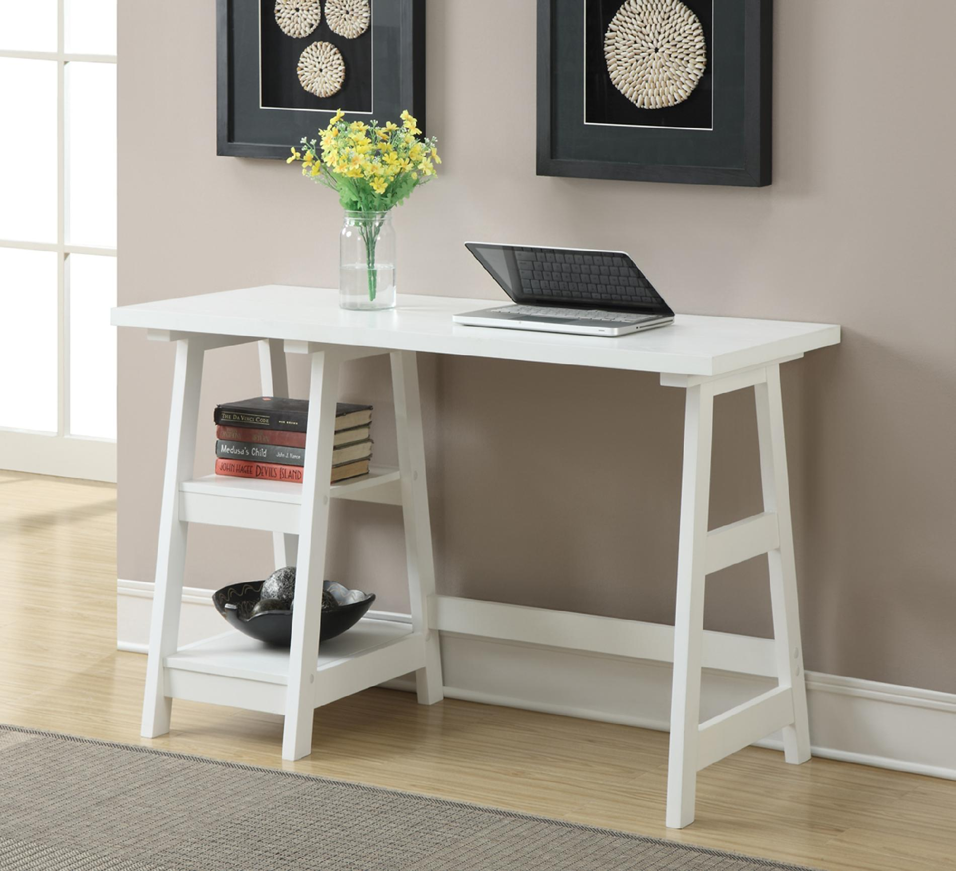Convenience Concepts White Trestle Desk