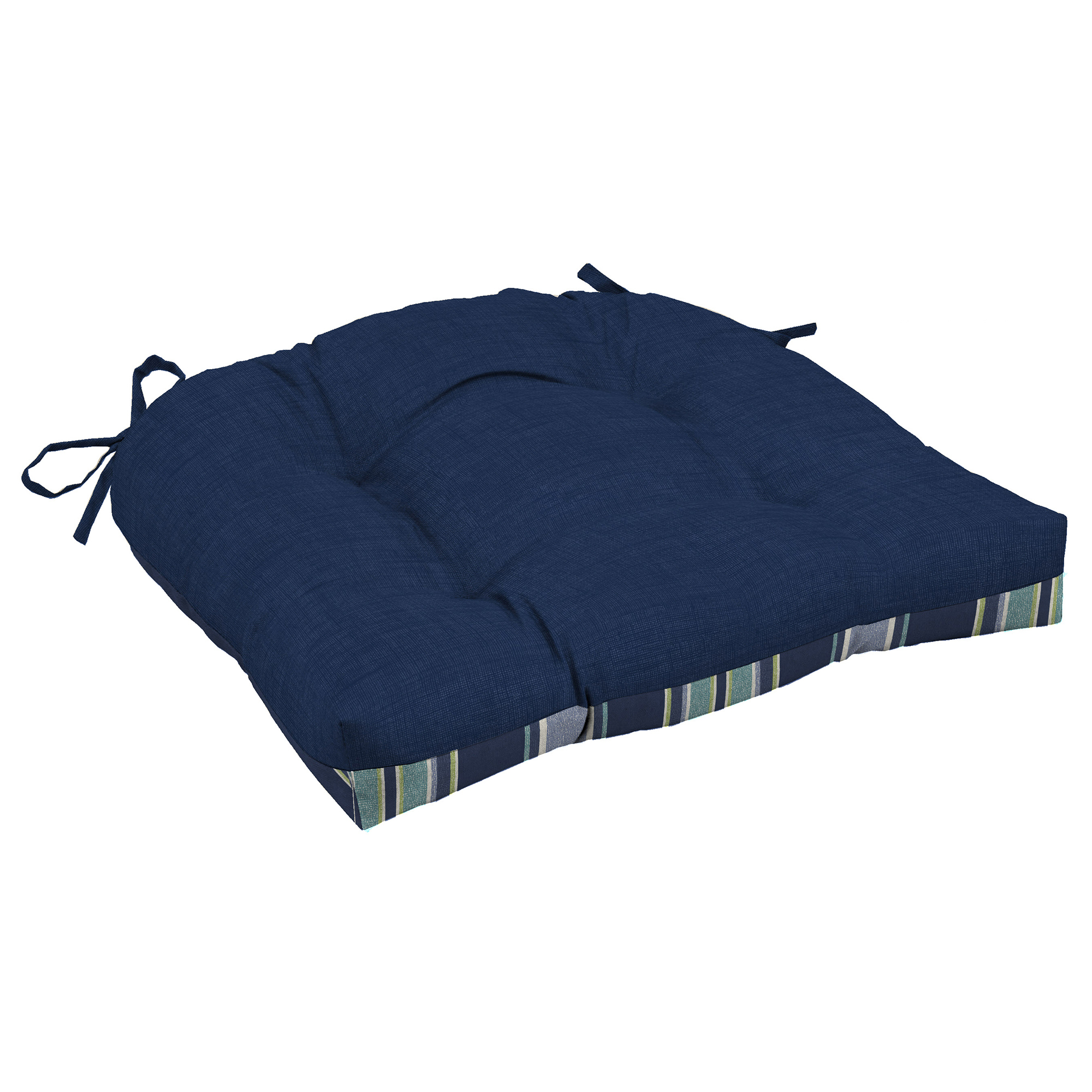 wicker chair cushions with ties indoor hanging egg stand essential garden texture blue seat pad limited