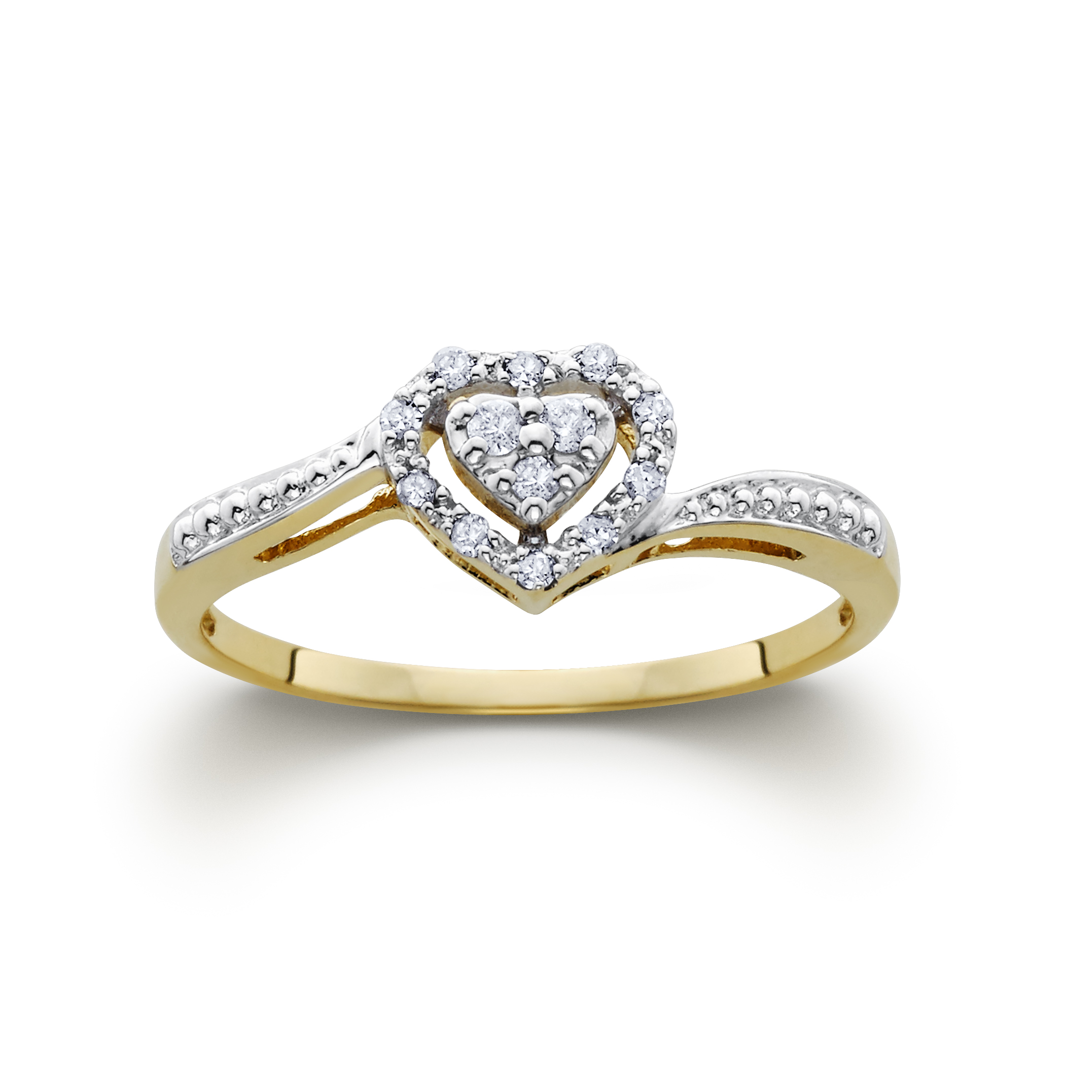 1 10cttw Certified Diamond Heart Ring 10k Yellow Gold