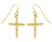 Yellow Colored Cubic Zirconia Cross Earrings in Gold over ...