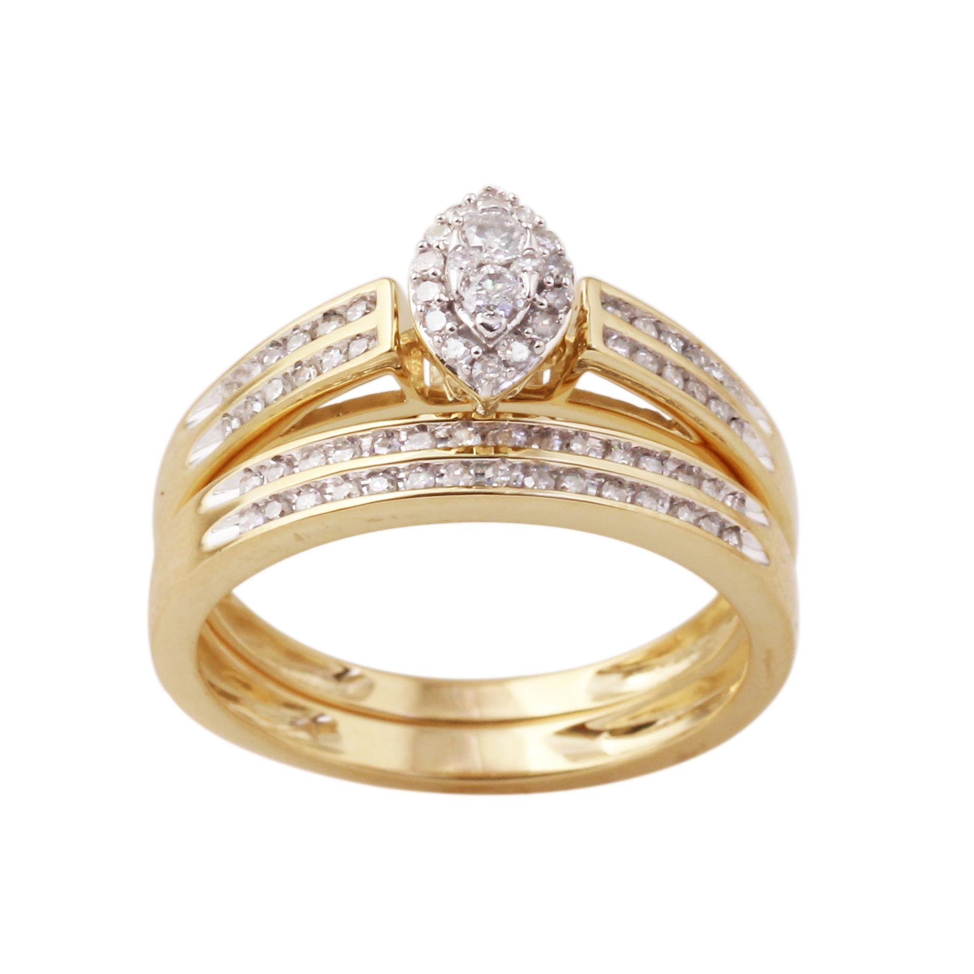 10K Yellow Gold 38 Cttw Certified Diamond Ladies 2 Pc