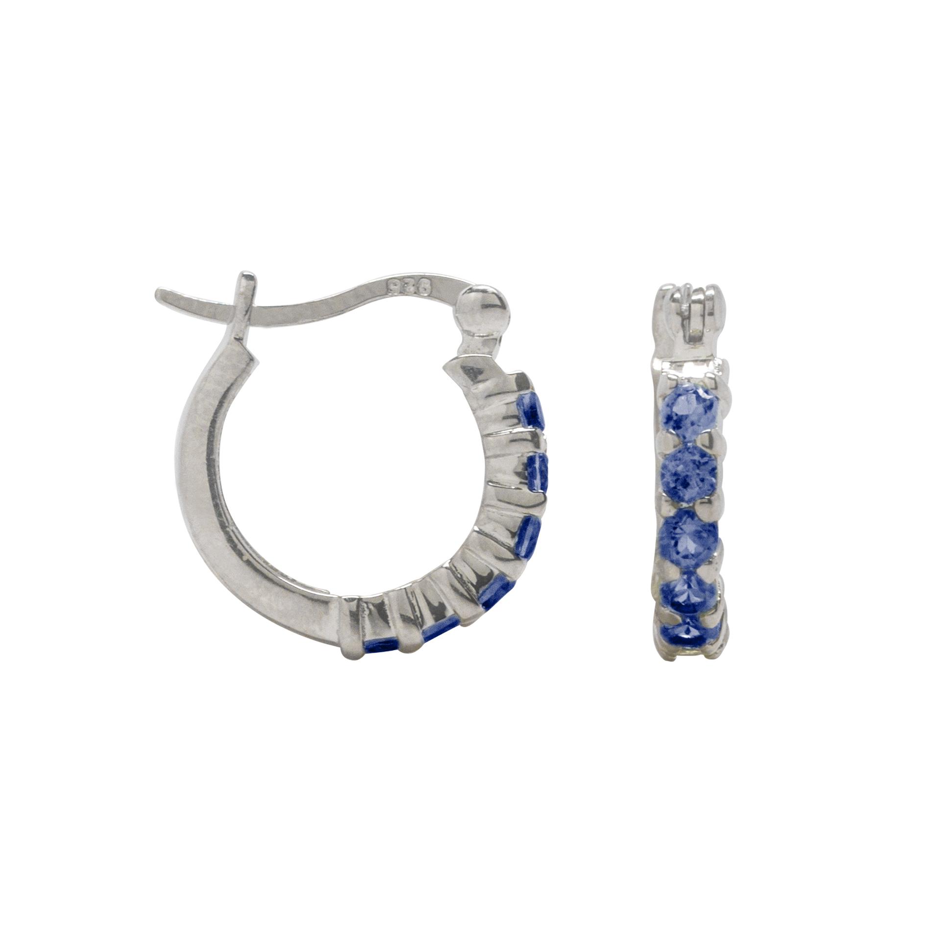 2.5mm Round Lab Created Blue Sapphire Hoop Earrings