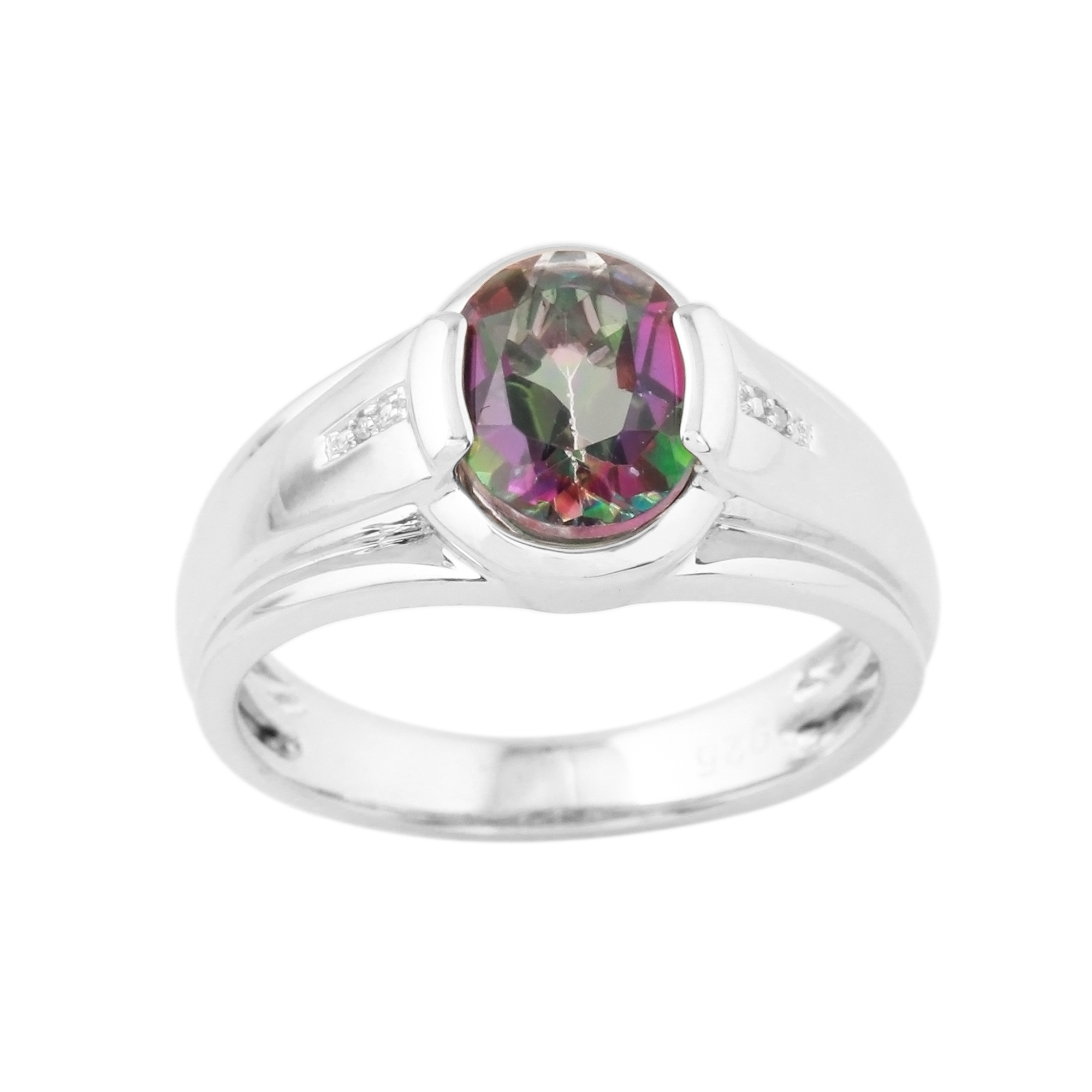 Mens Mystic Topaz Sterling Silver and Diamond Accent Ring