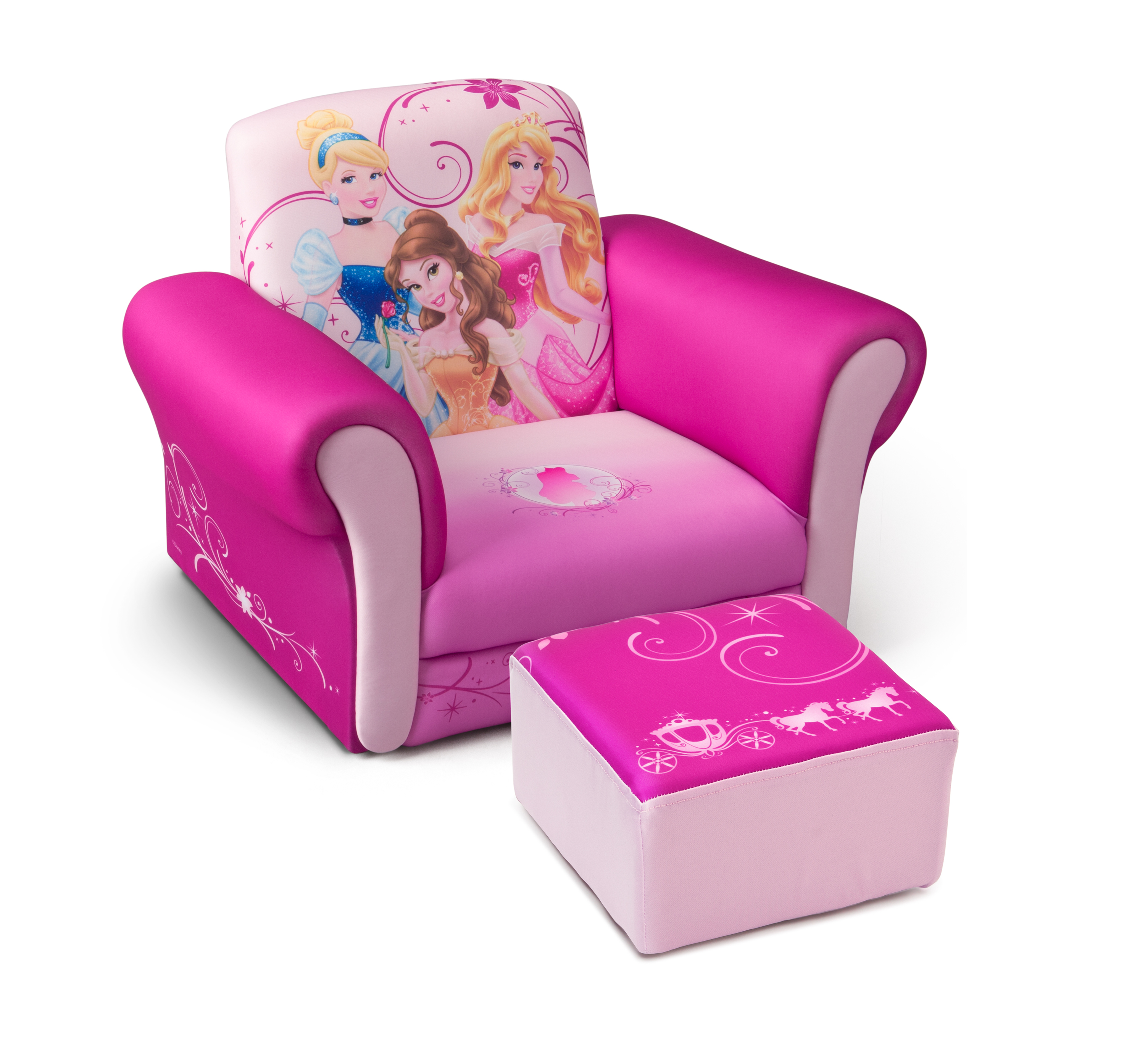 kids chair and ottoman folding camping delta children disney princess upholstered with