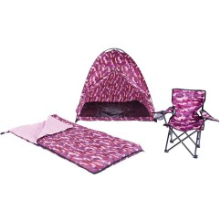 Pink Camo Lawn Chair Barcelona Uk Tent Sleeping Bag Set Fun Camping Relax