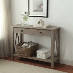 Rustic Gray Sofa Table Round Leather Uk Linon Titian Console